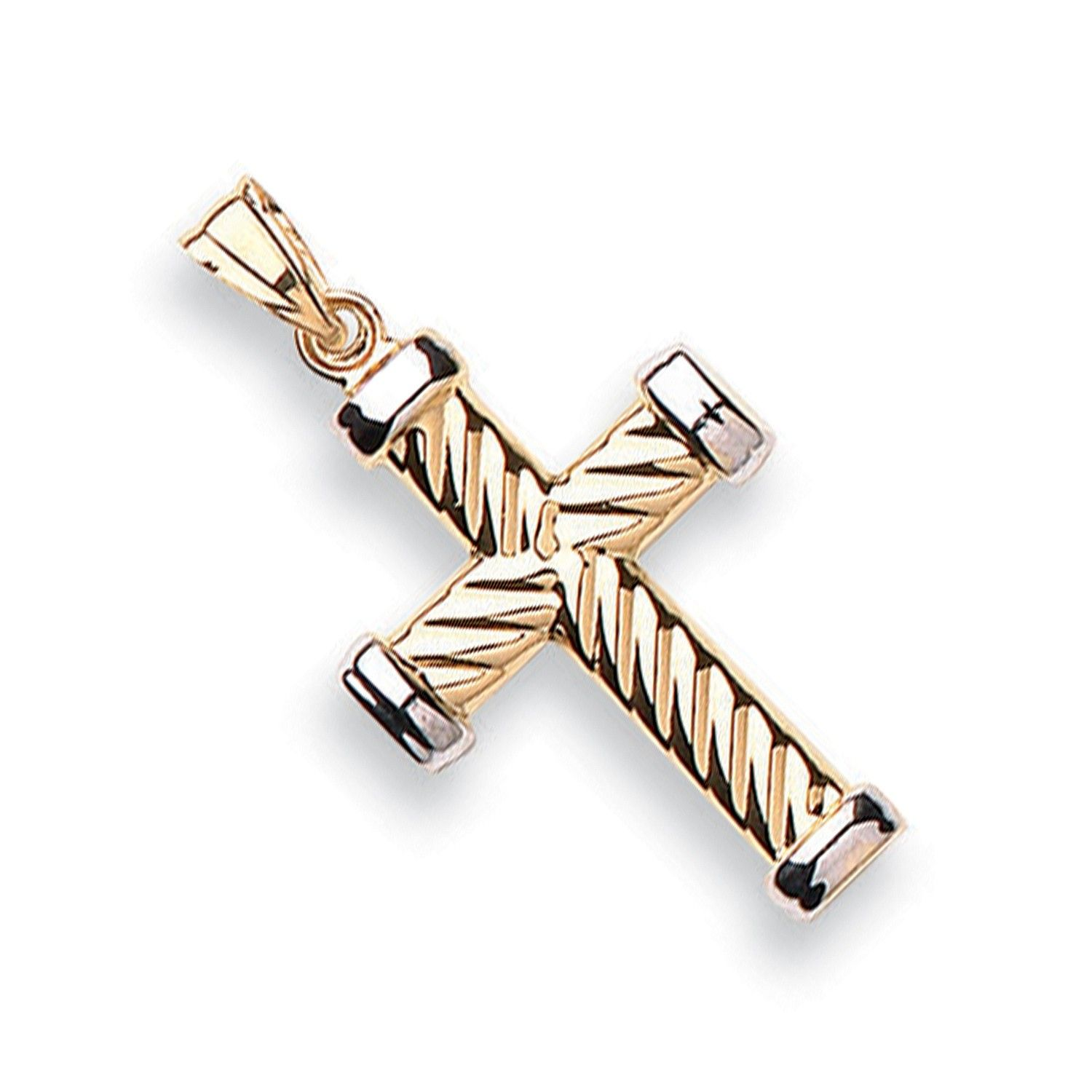 9ct Gold Ribbed Cross Gold