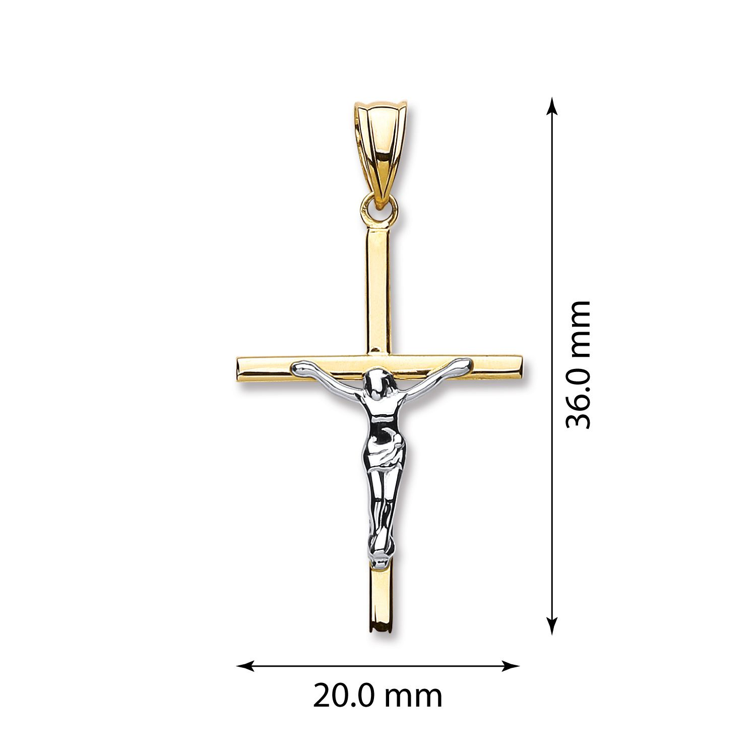 W & 9ct Yellow Gold Hollow Crucifix Gold