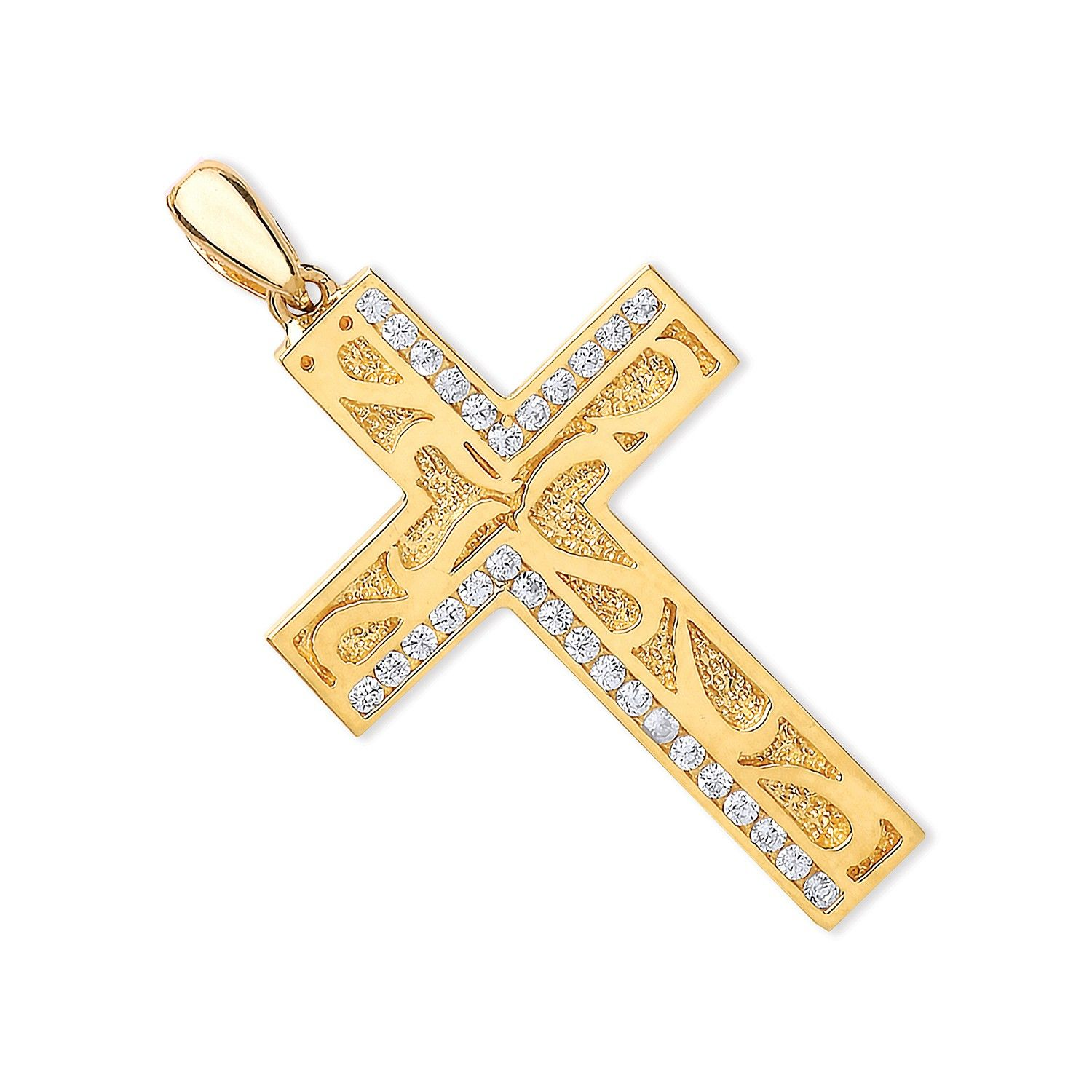 9ct Yellow Gold CZ Cross with Design Cubic Zirconia Gold