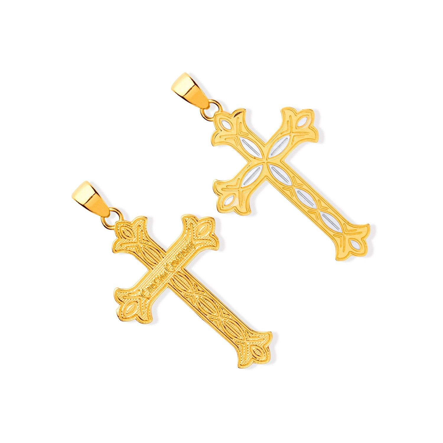 Yellow and White Gold Russian Orthodox Cross Gold