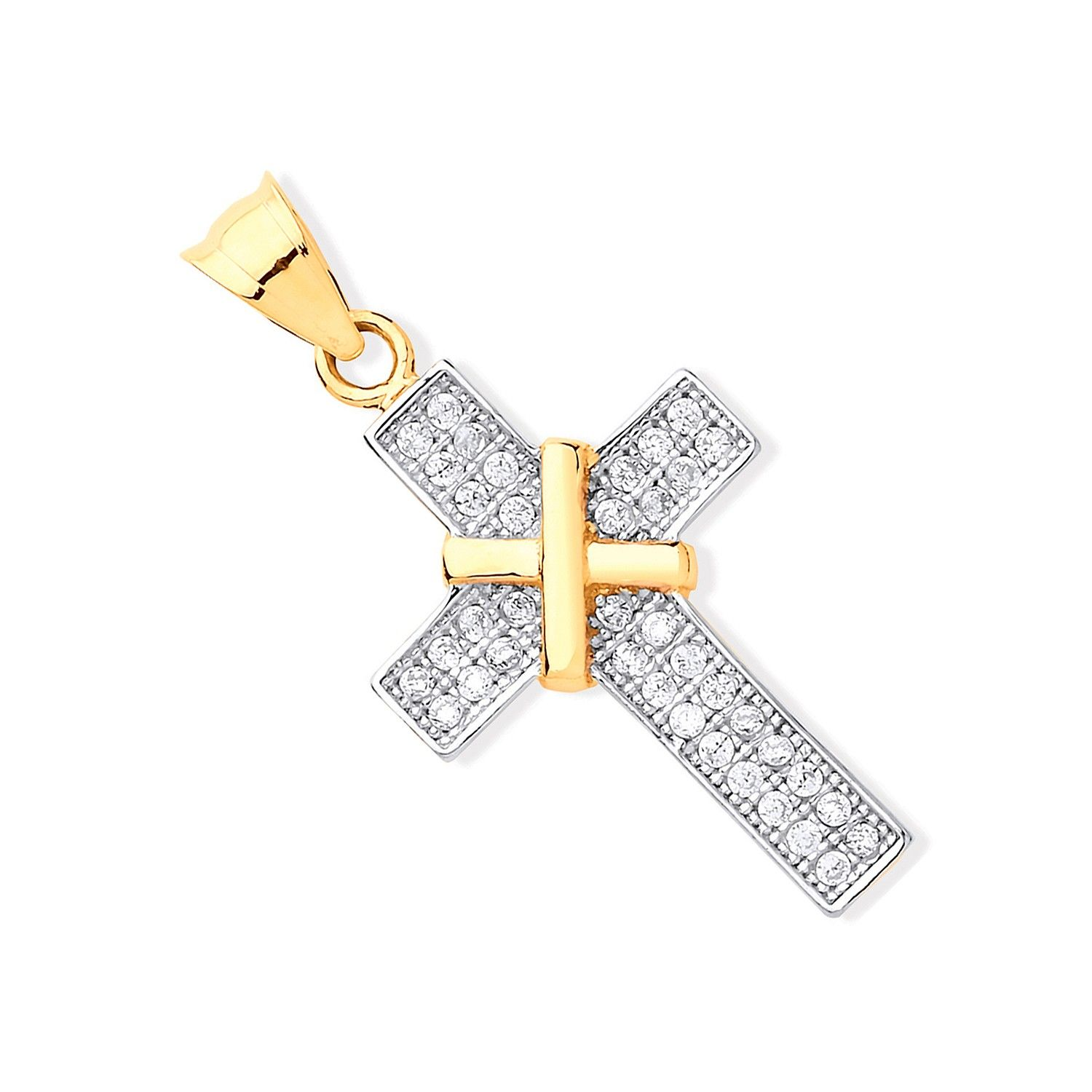 Yellow Gold and  Cubic Zirconia Cross Gold