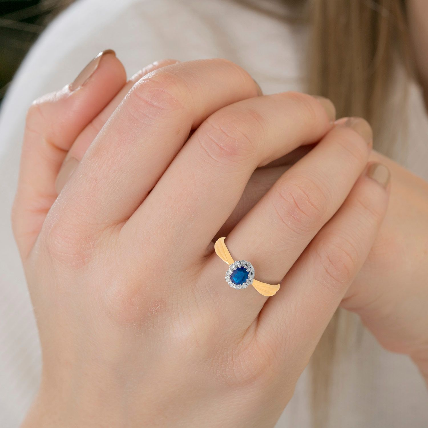 Sapphire and diamond Cluster Ring 9ct Yellow Gold Diamond Gold