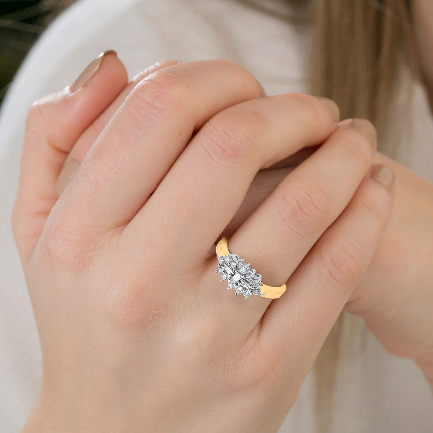 18ct Yellow Gold 0.50cts Diamond Boat/Cluster Ring Diamond Gold