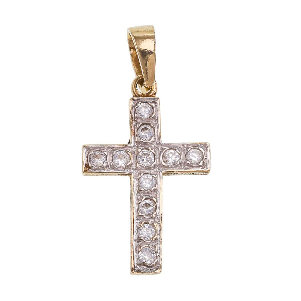 Pre-owned 9ct Gold CZ Cross Pendant Cubic Zirconia Gold