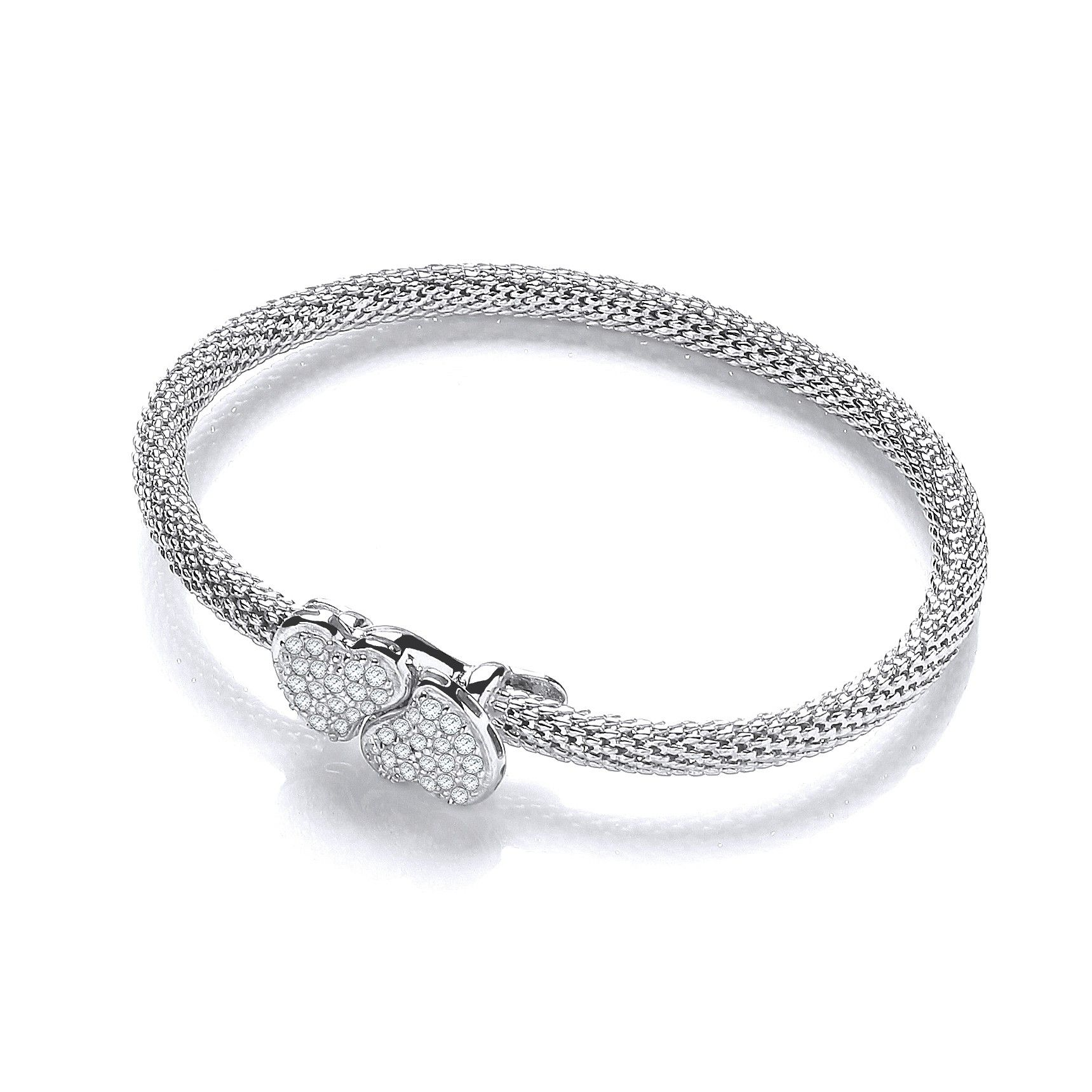 Sterling Silver Heart Bangle Set With White Cubic Zirconia