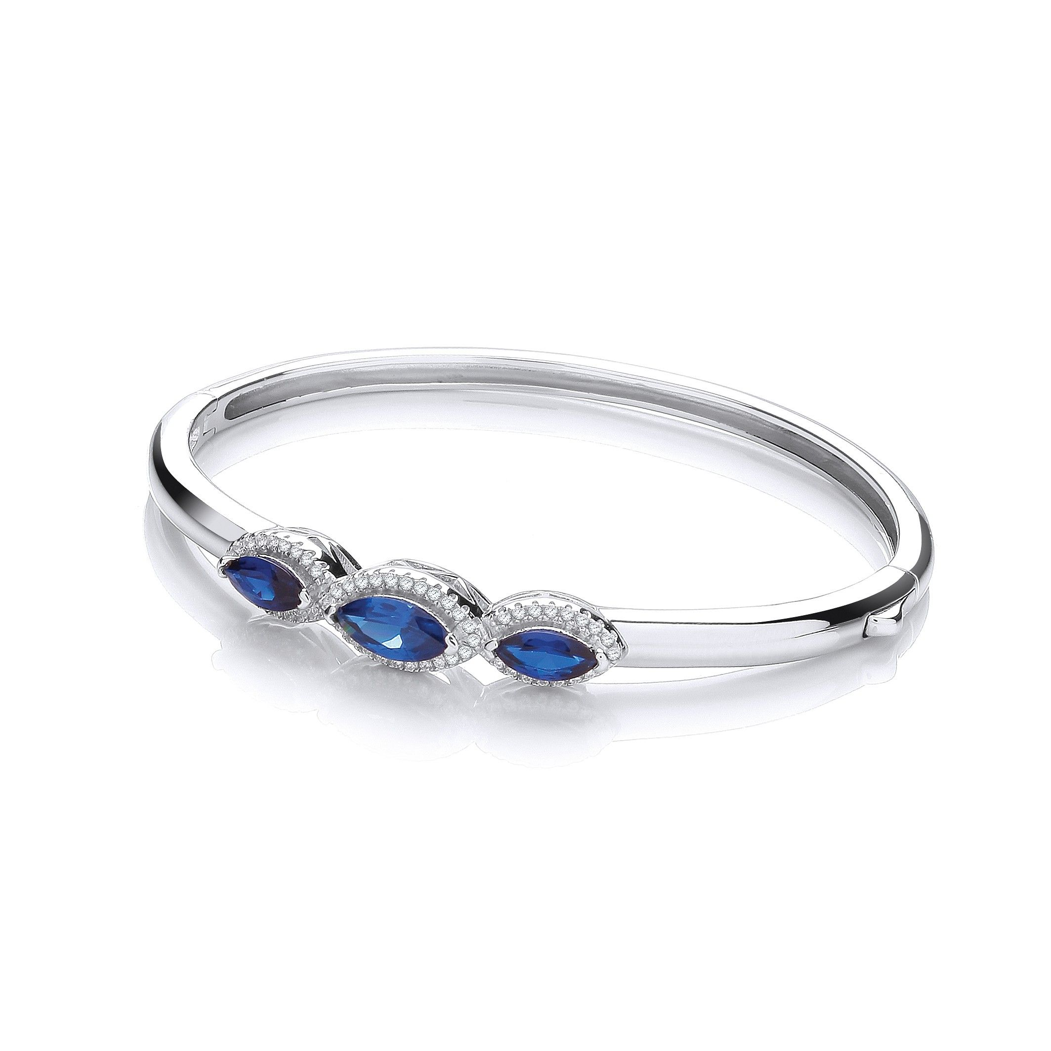 Sterling Silver Bangle Set With Blue Cubic Zirconia