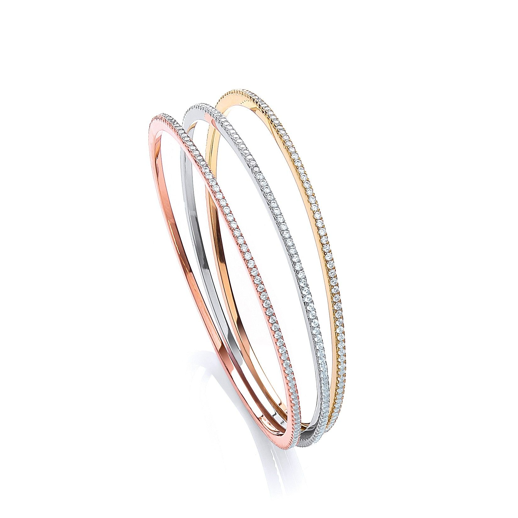 Multi-Colour Coated Sterling Silver Bangle Set With White CZs