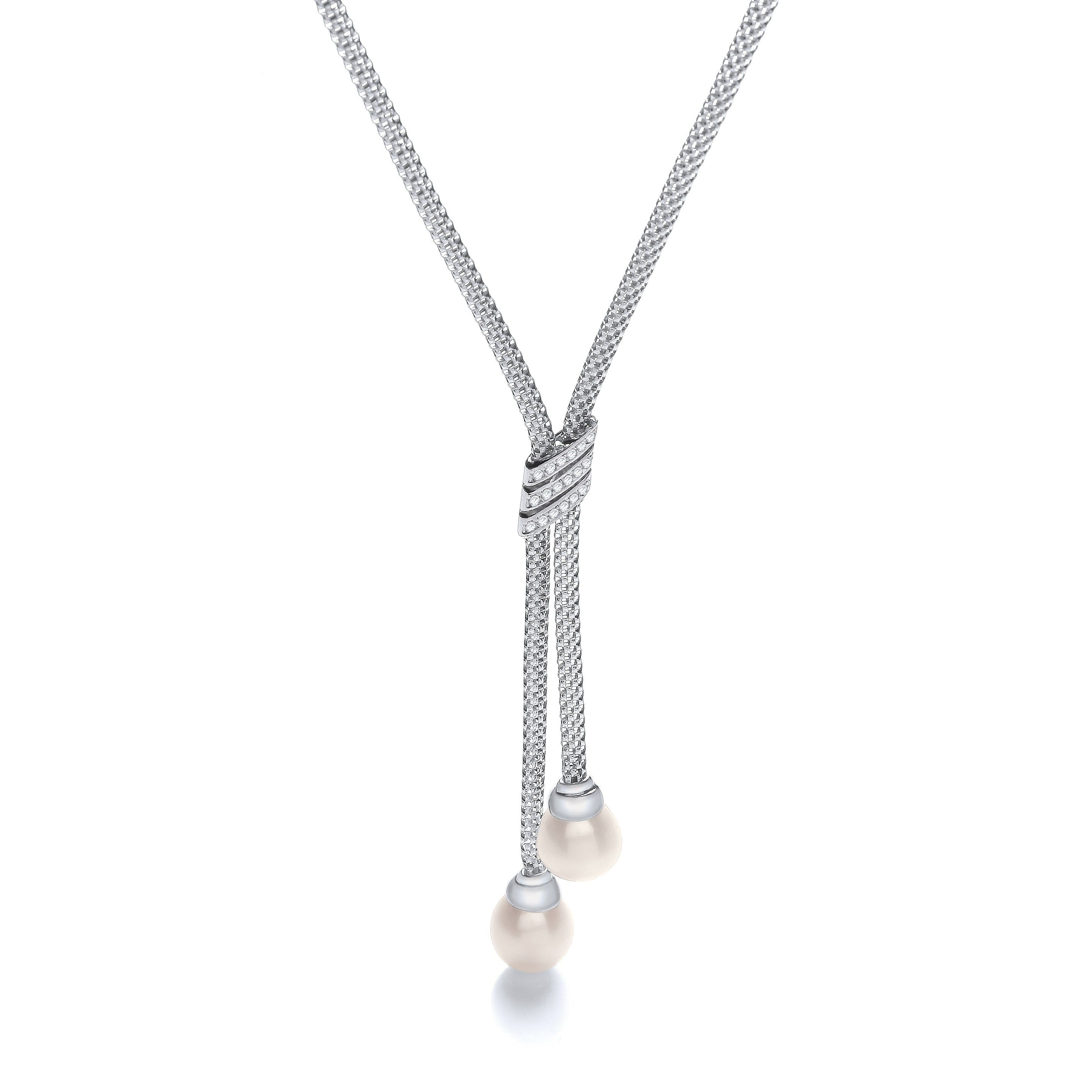 Silver Tassel Necklace Set With Cubic Zirconia 18