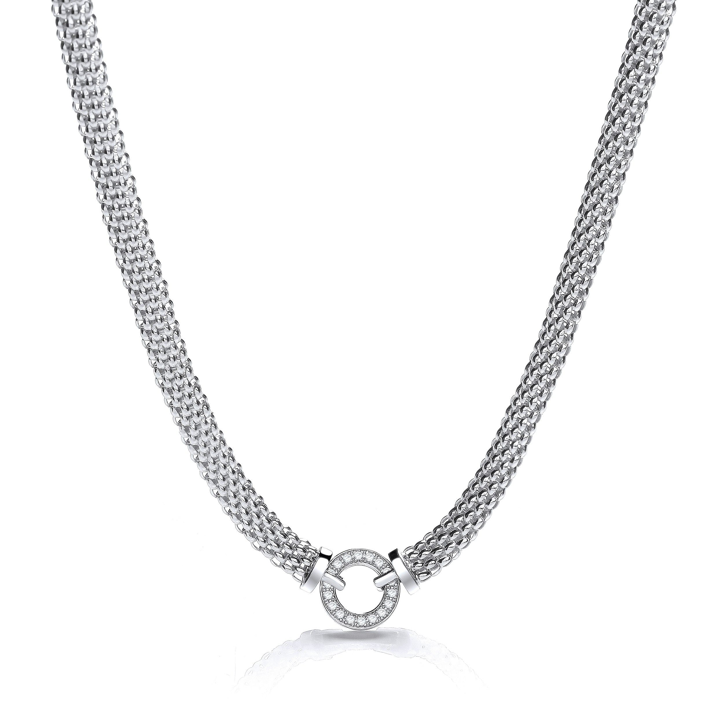 Silver Fancy Necklace Set With Cubic Zirconia 17