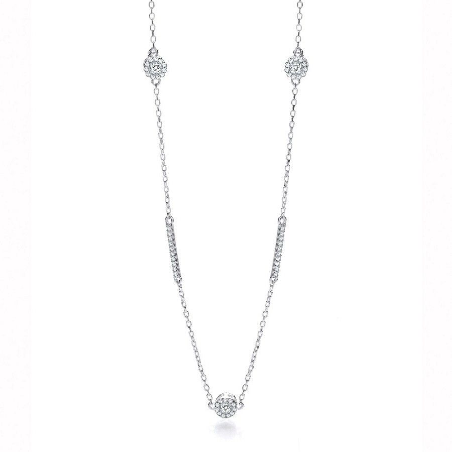 Silver Fancy Necklace Set With Cubic Zirconia 36