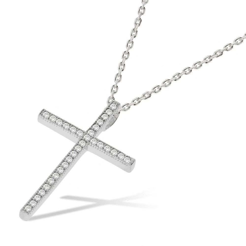 Silver Cross Set With Cubic zirconia-18