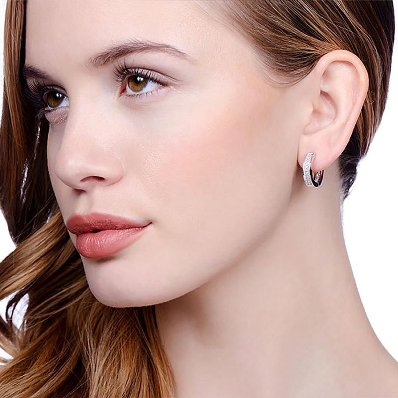 Hoop Silver Earrings Set With CZs Cubic Zirconia Silver