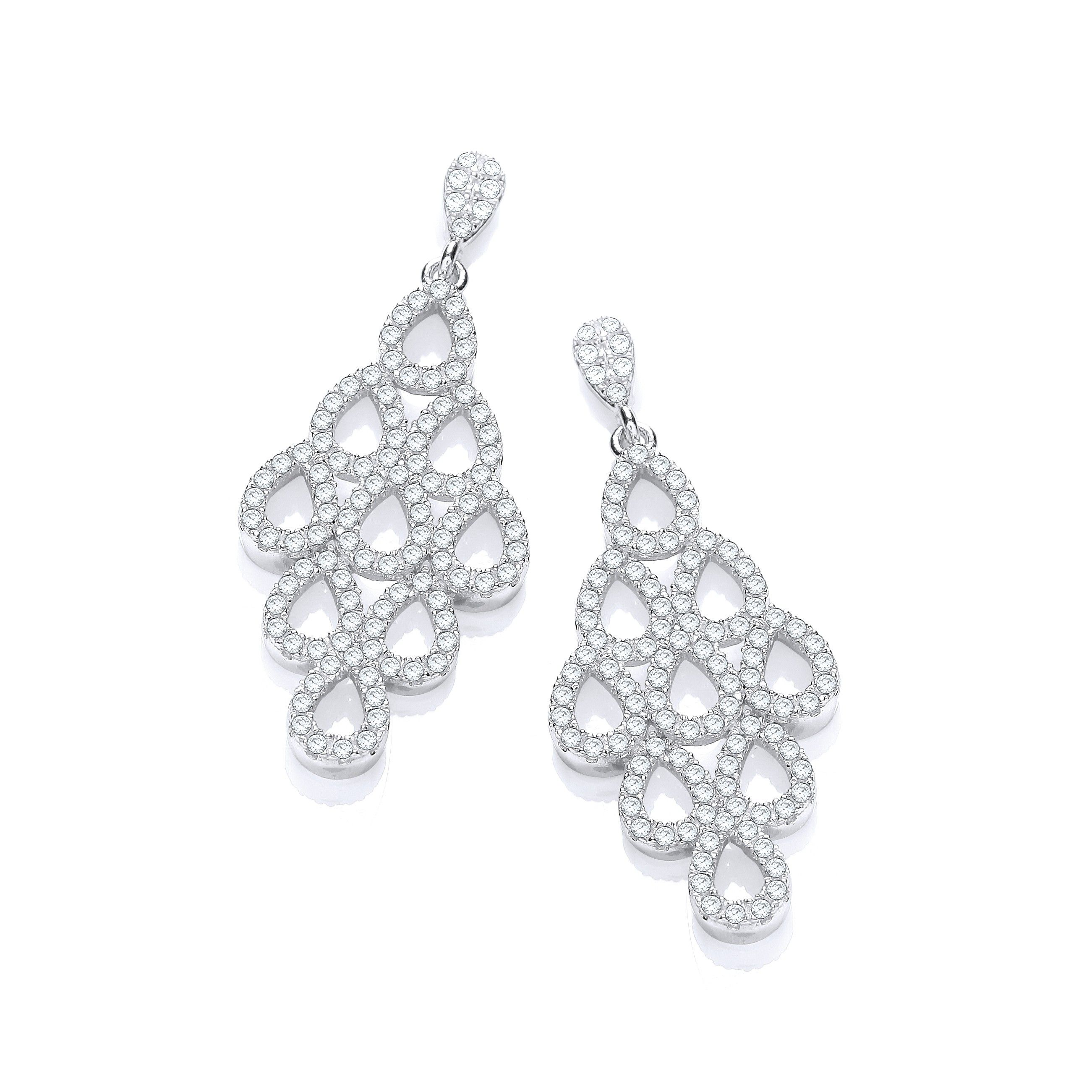 Drop Silver Earrings Set With CZs Cubic Zirconia Silver