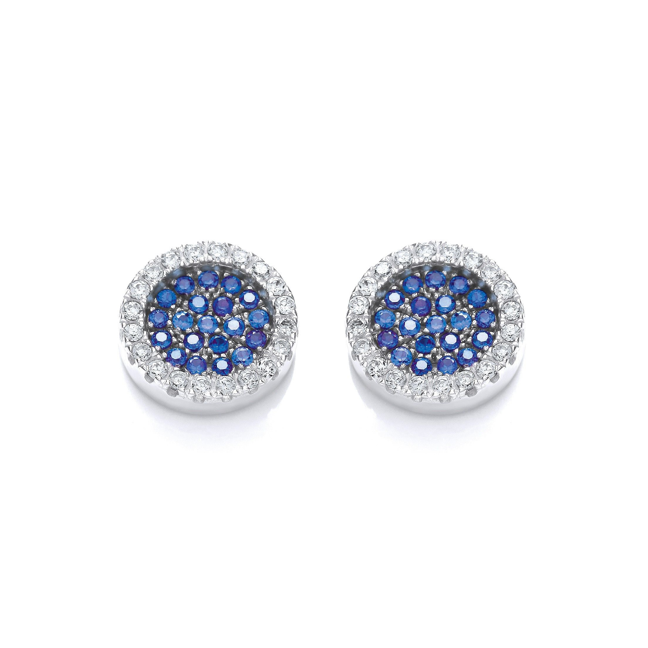 Cluster Stud Silver Earrings Set With Blue CZs Cubic Zirconia Silver