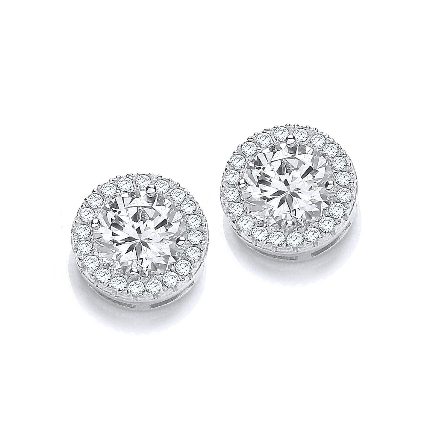 Stud Silver Earrings Set With CZs Cubic Zirconia Silver