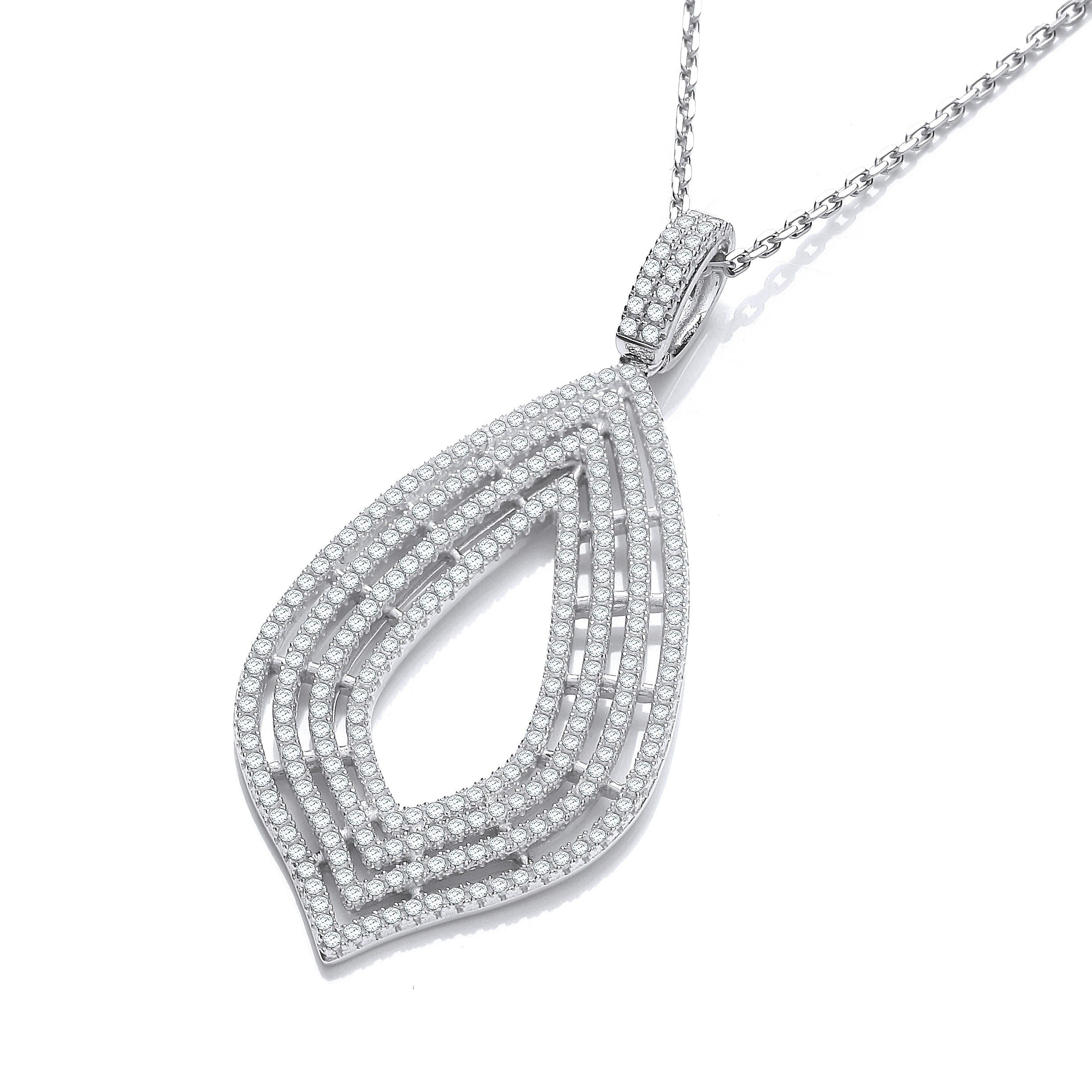 Silver Necklace Set With CZs Cubic Zirconia Silver