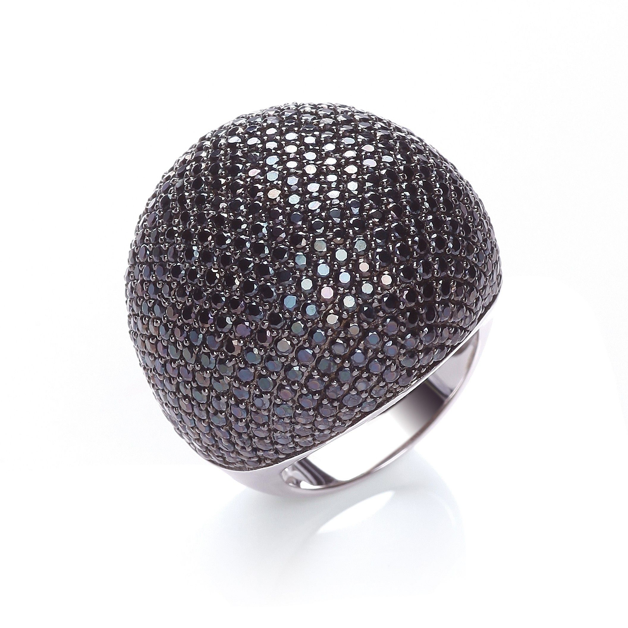 Silver & Black CZ Cocktail Ring Cubic Zirconia Silver