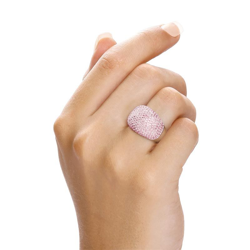 Silver & Pink CZ Cocktail Ring Cubic Zirconia Silver