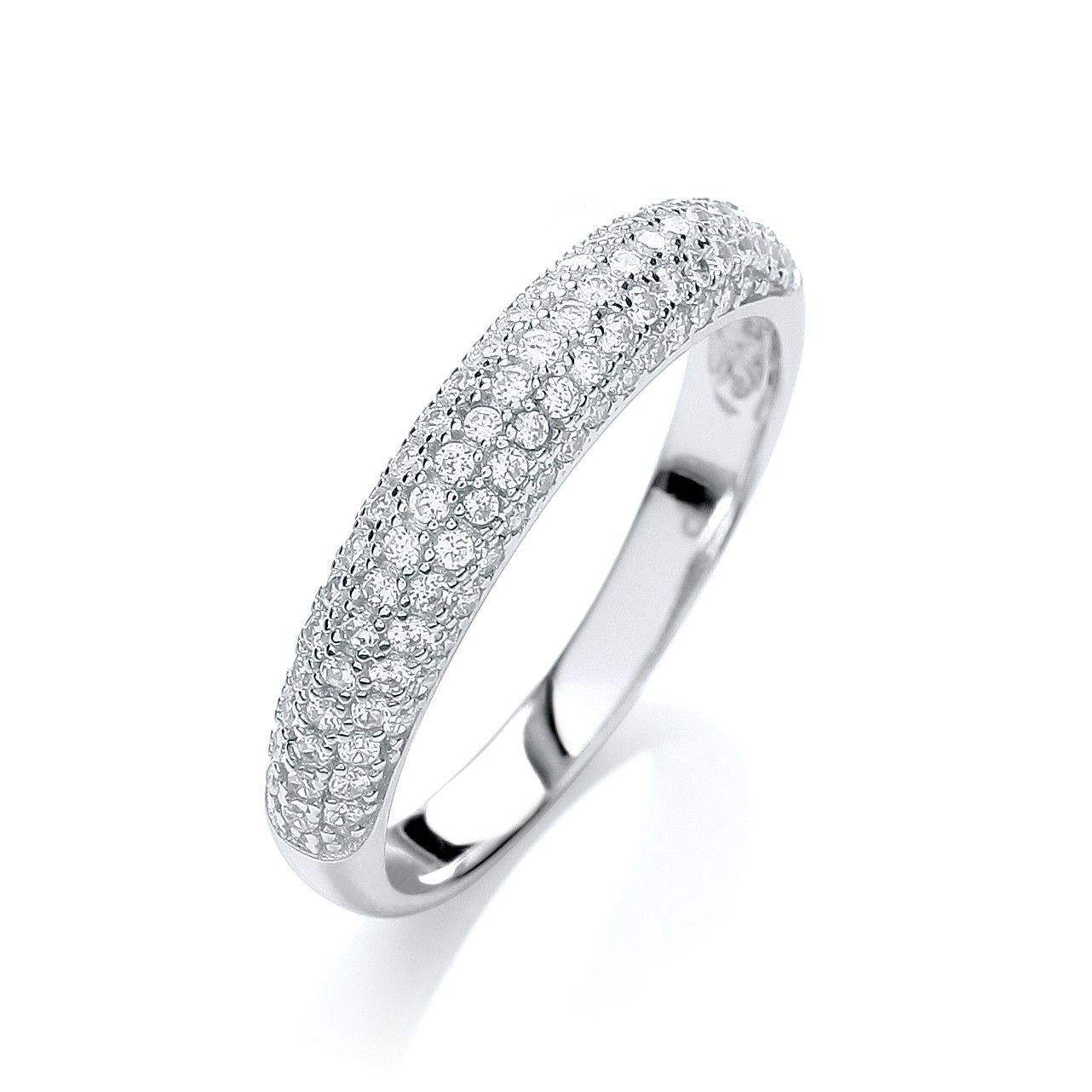 Silver & White CZ Eternity Ring Cubic Zirconia Silver