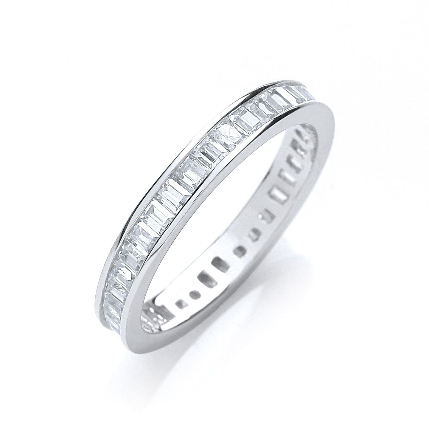 Silver & White CZ Full Eternity Ring Cubic Zirconia Silver
