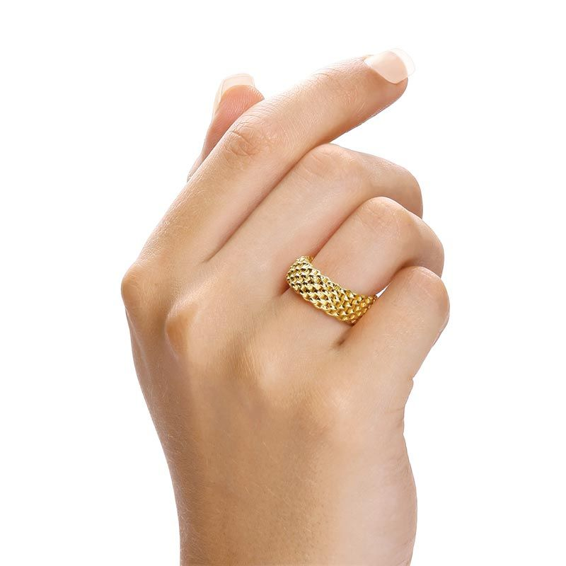 Yellow Coated Silver Mesh Ring Silver