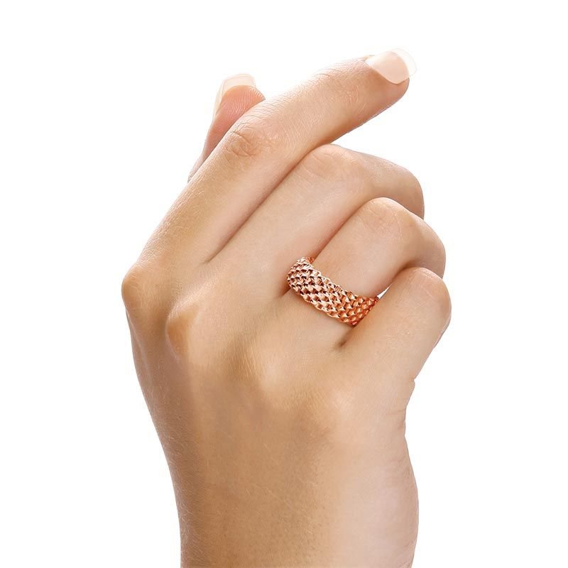 Rose Coated Silver Mesh Ring Silver