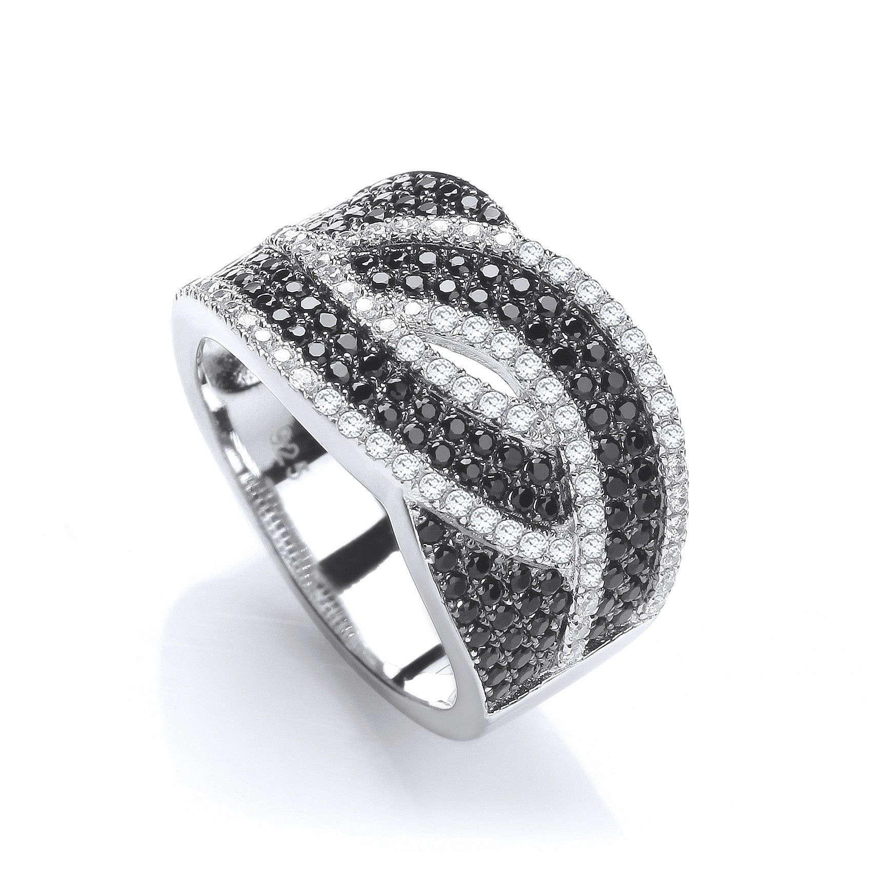 Silver & Black CZ Cross Over Ring Cubic Zirconia Silver