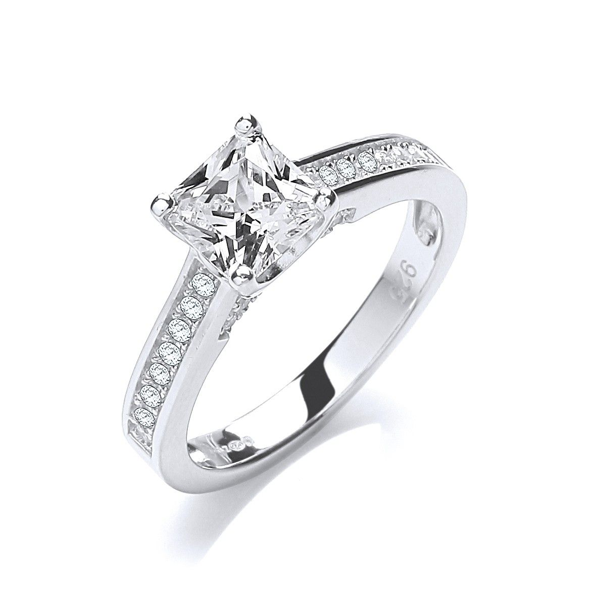 Silver & White CZ Solitaire Ring