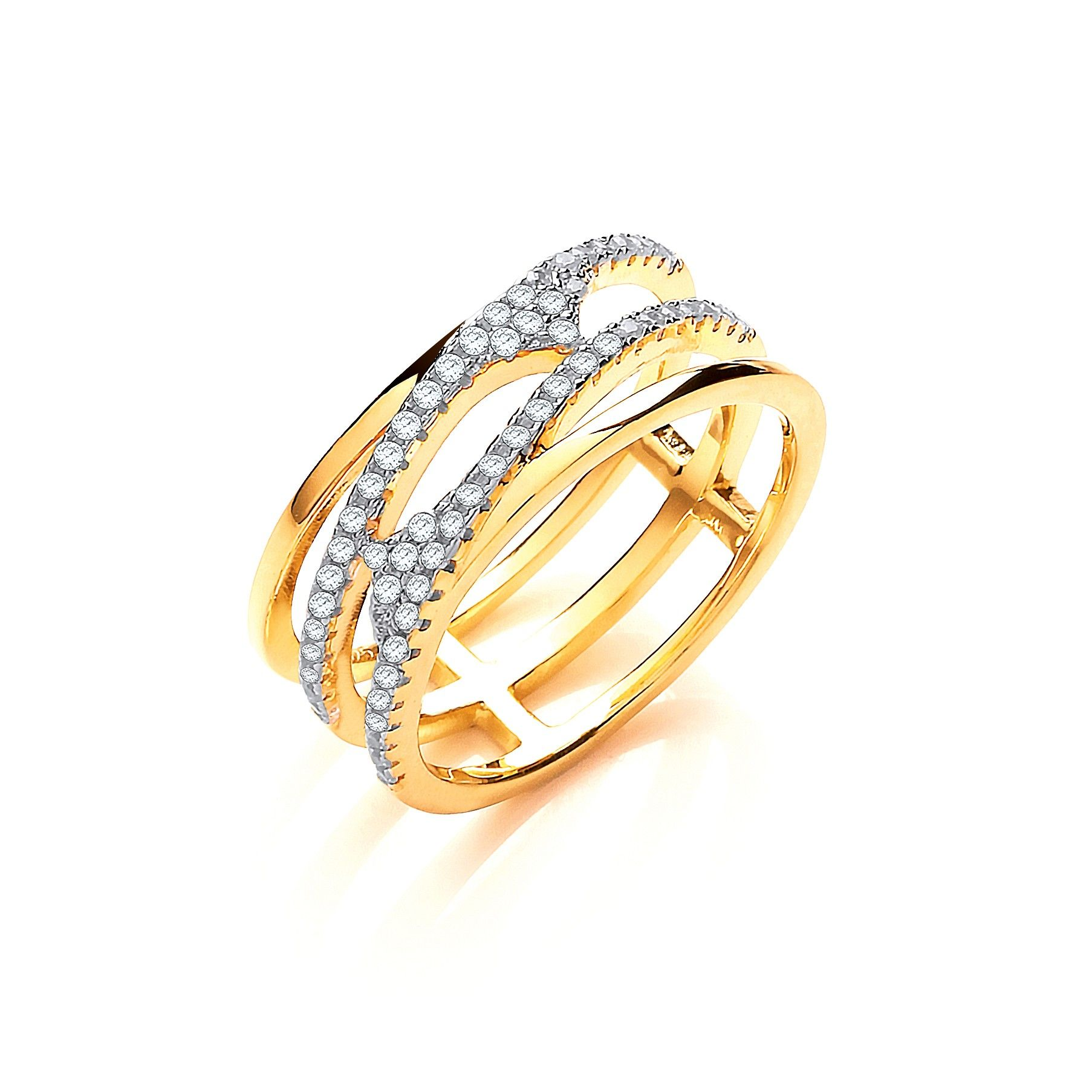 Yellow Coated Silver & White CZ Cross Over Ring