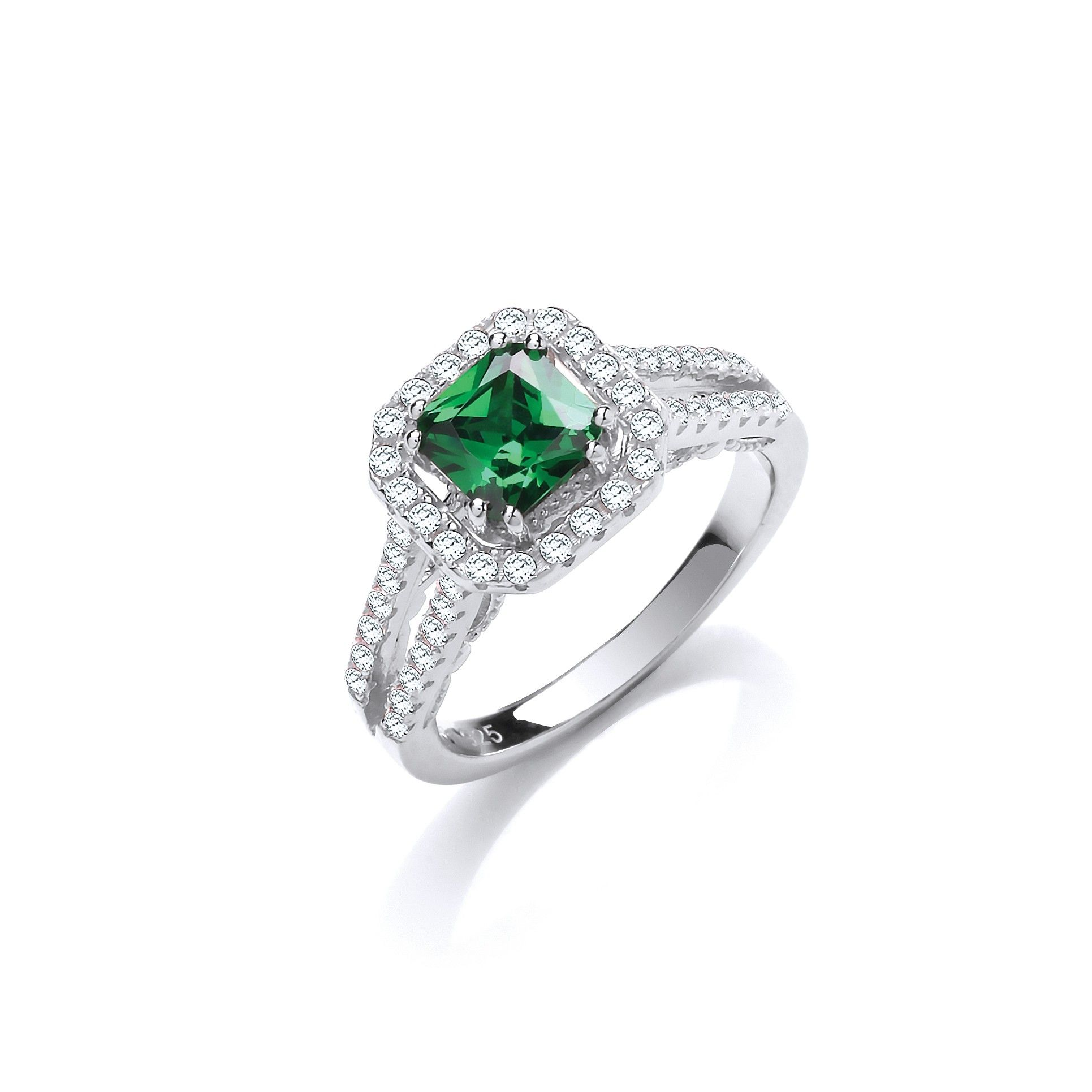 Silver & Green CZ Halo Ring