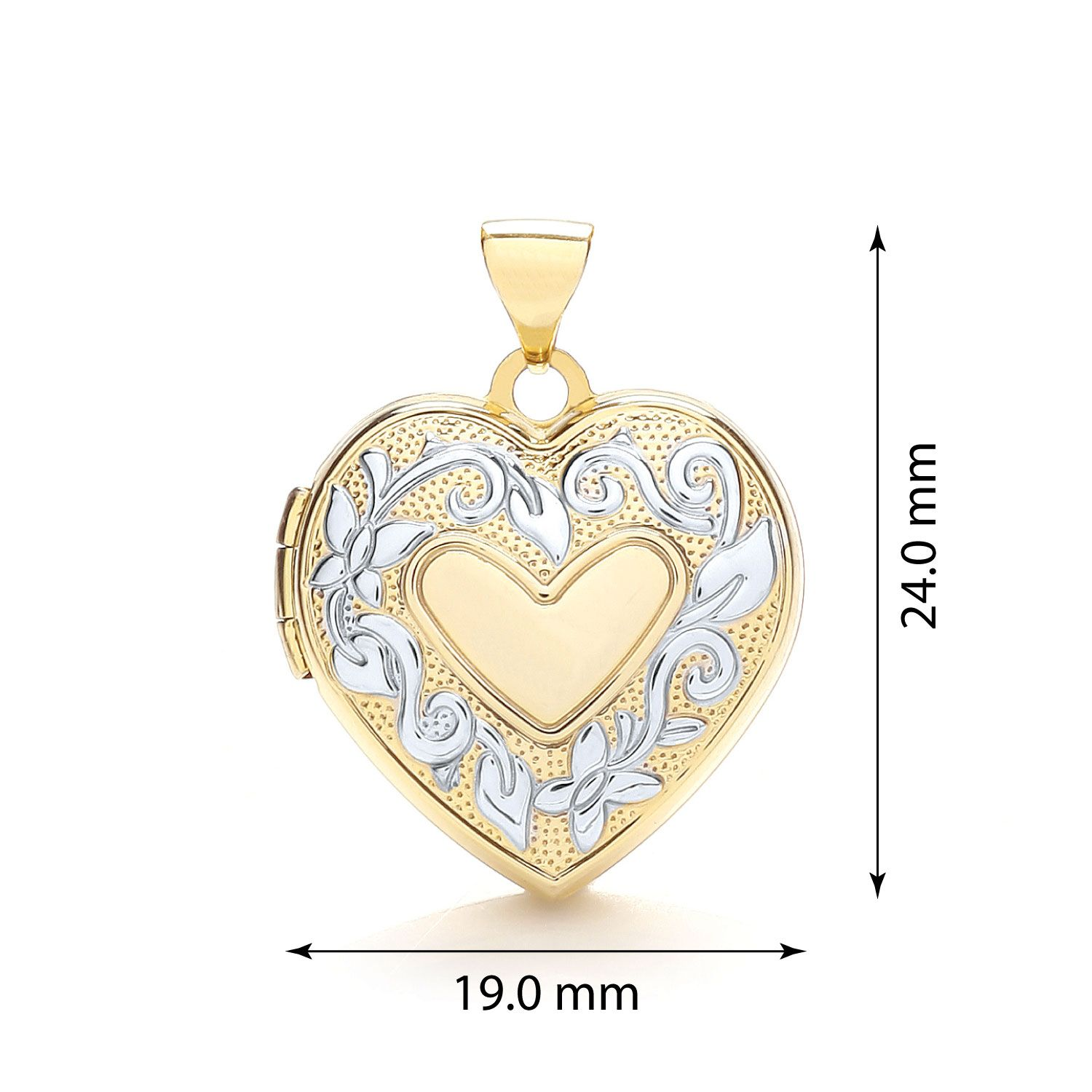 9ct Yellow and White Gold Heart Shaped Family Locket Gold