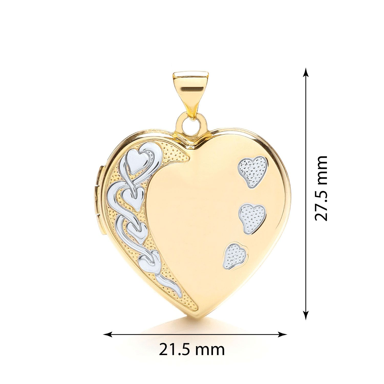 9ct Yellow and White Heart Shaped Family Locket Gold