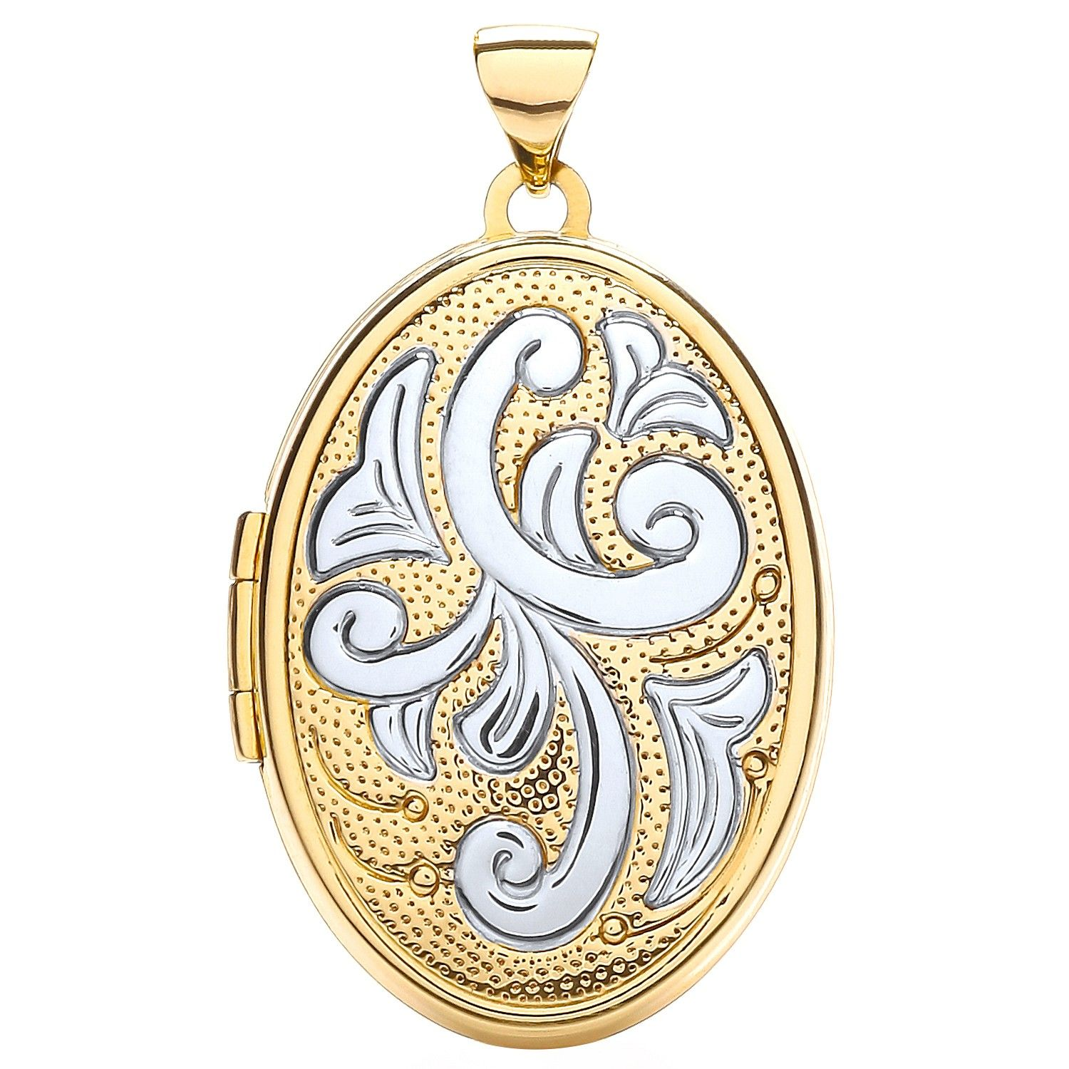 9ct Yellow and White Gold Oval Shaped Family Locket Gold