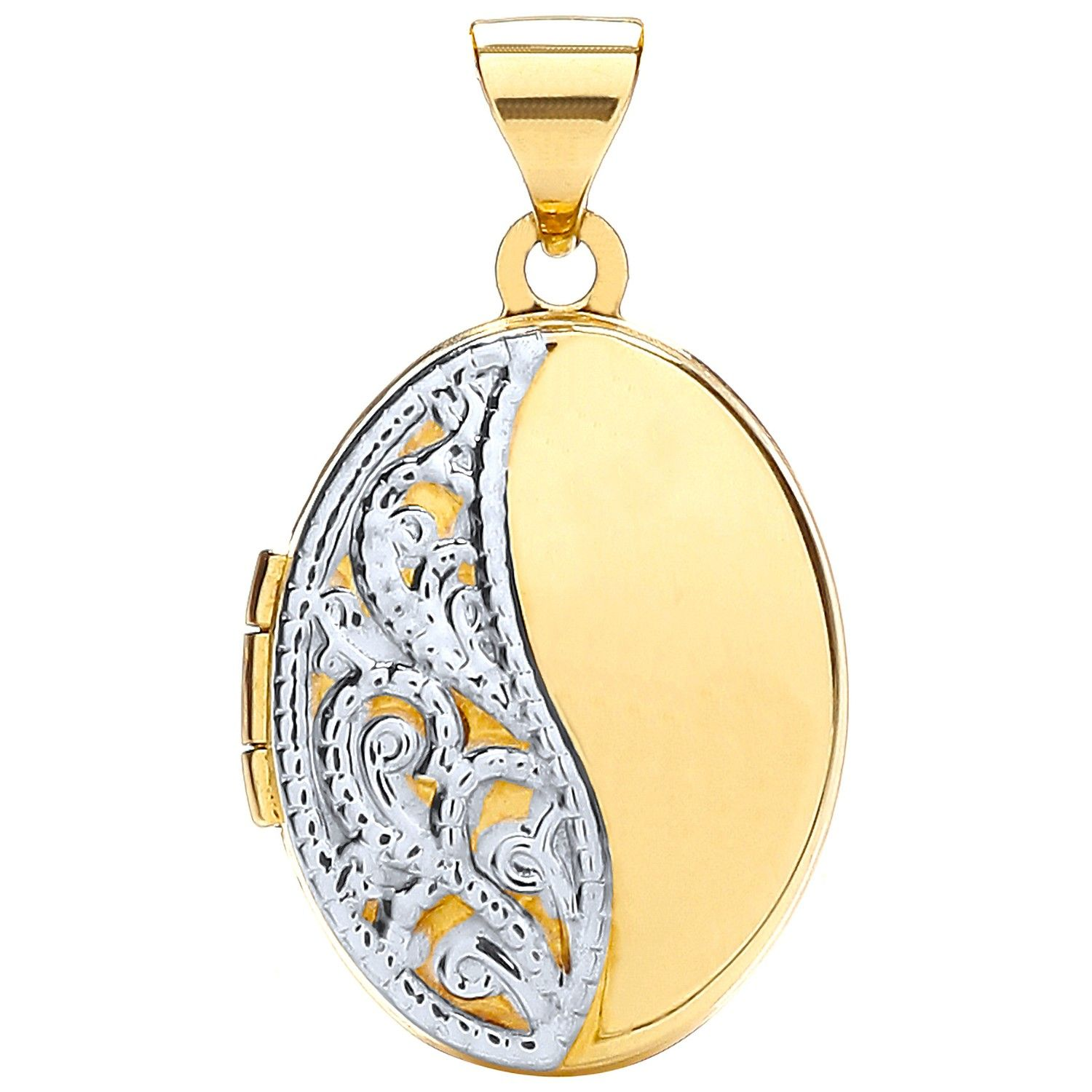 9ct Yellow and White Gold Oval Shaped Locket Gold