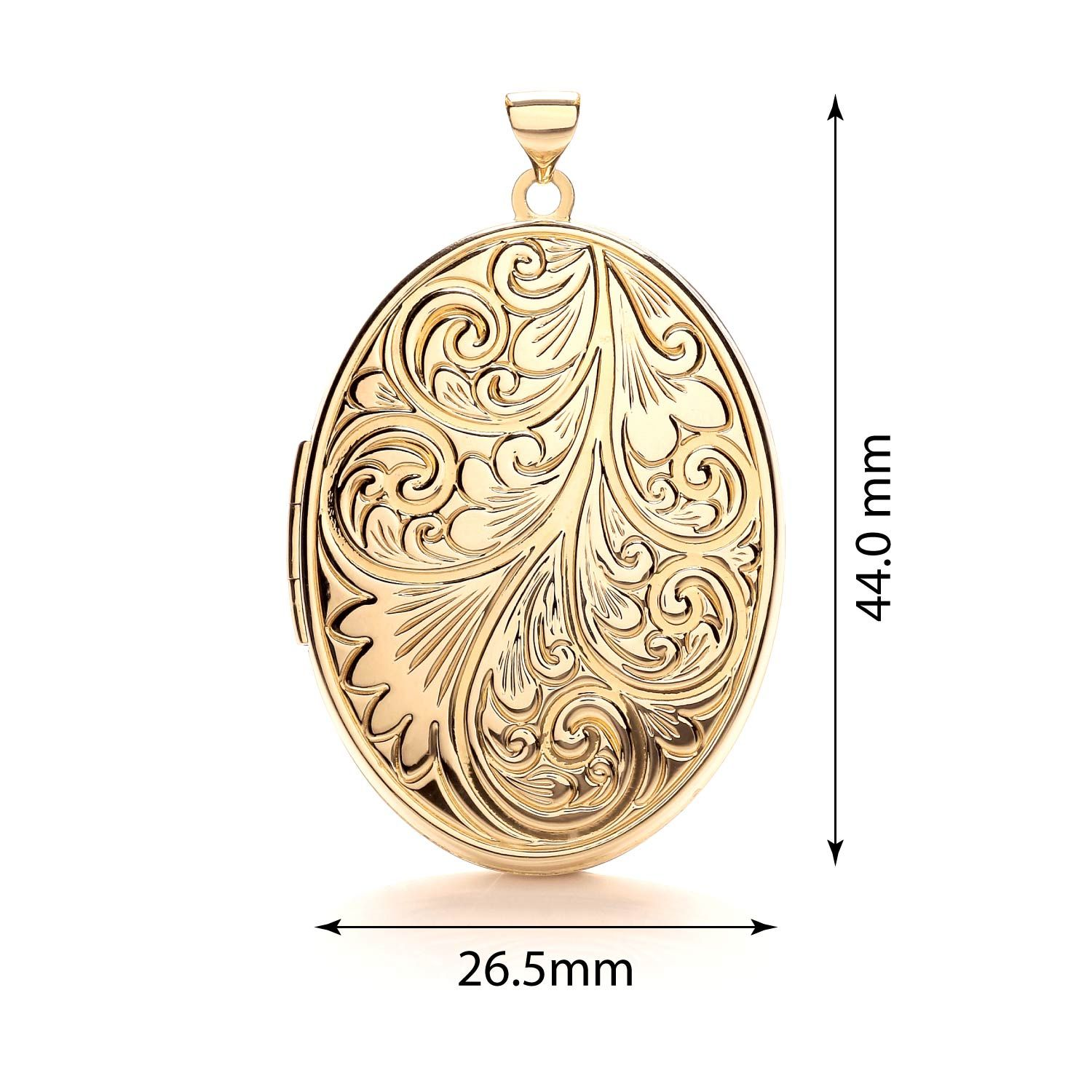 9ct Yellow Gold Oval Locket with design Gold