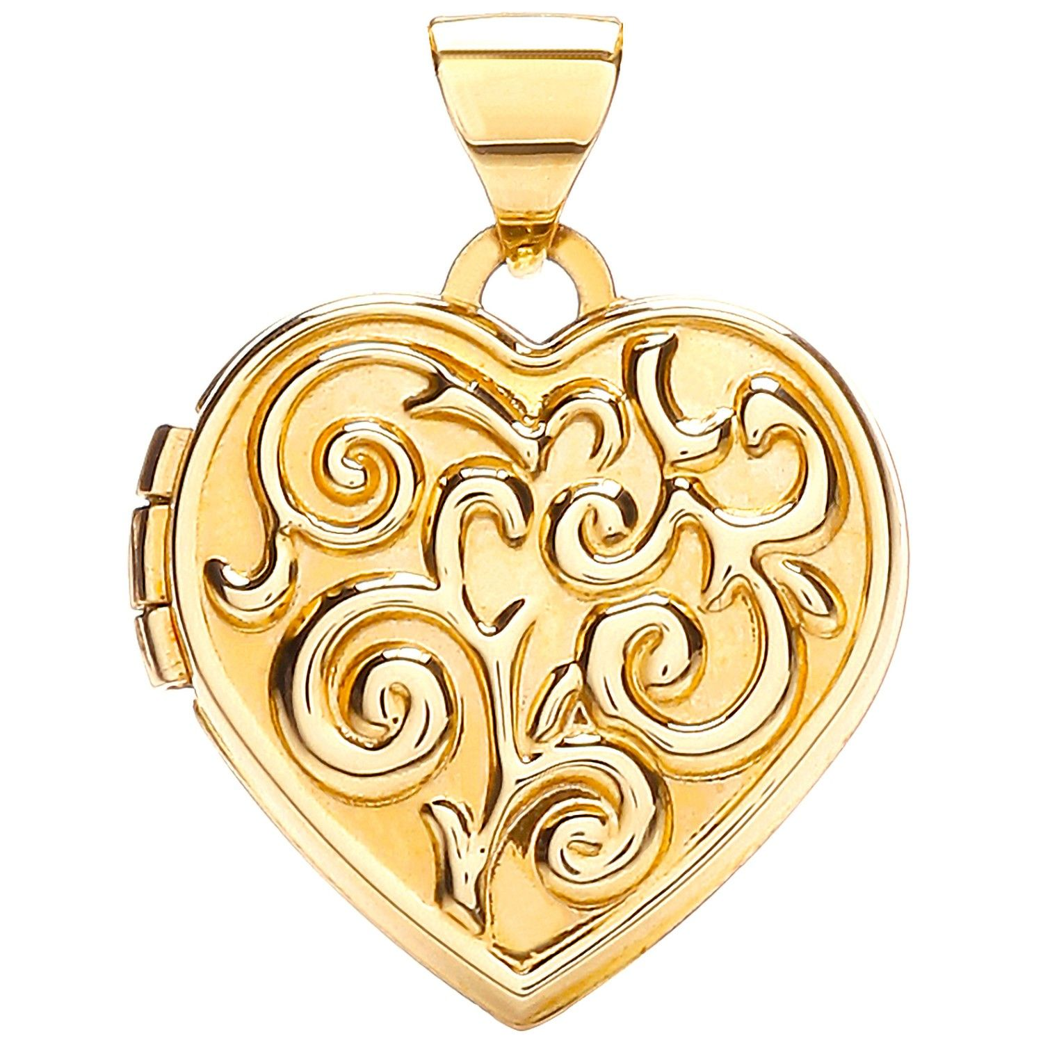 9ct Yellow Gold Heart Shape Locket with design Gold