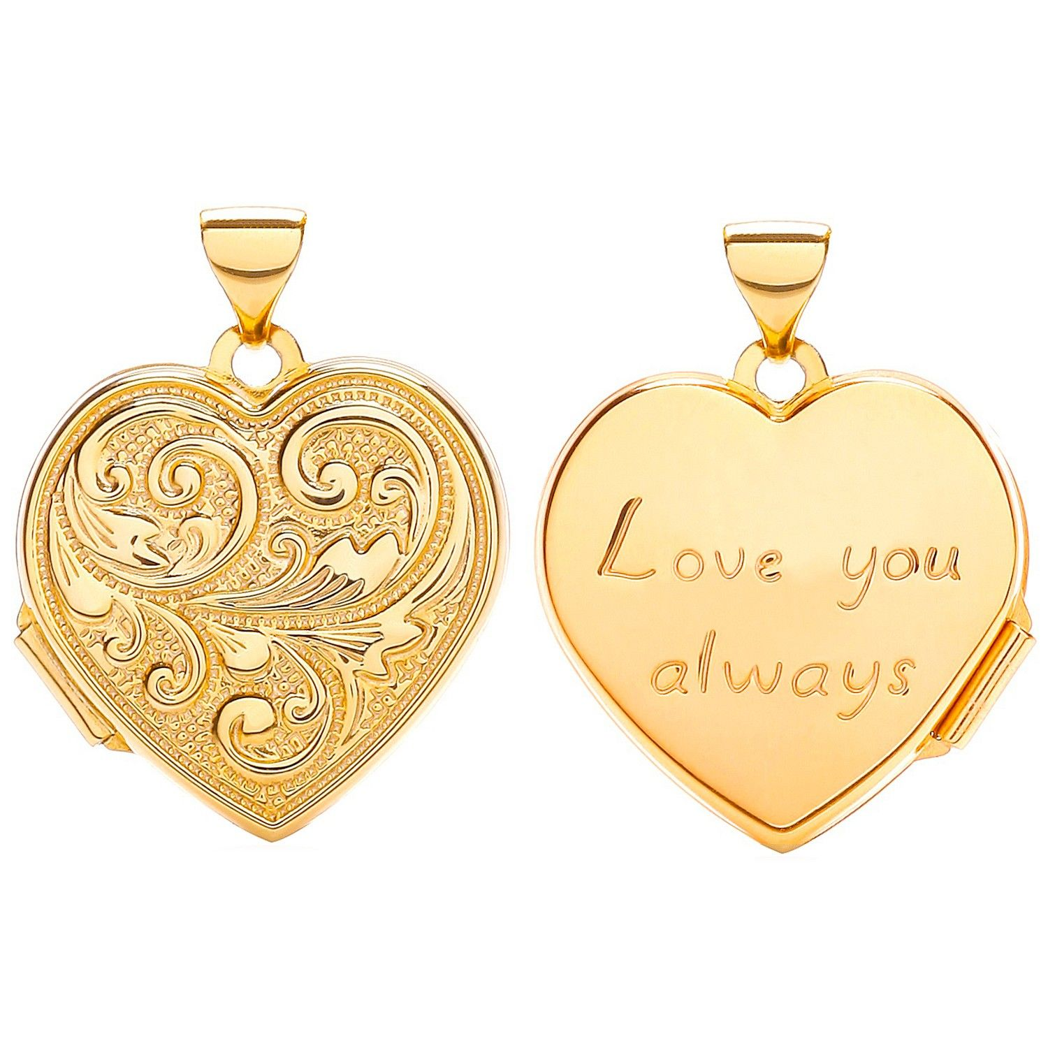 9ct Yellow Gold Heart Double Sided Locket Love You  18.0 x 24.0m Gold