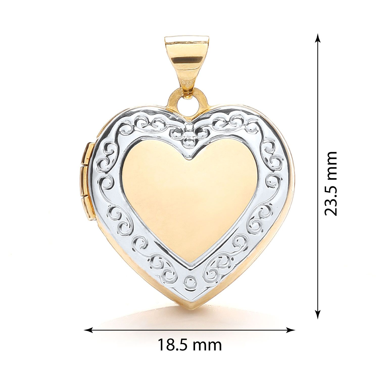 9ct white and Yellow Gold Heart Shape Locket Gold