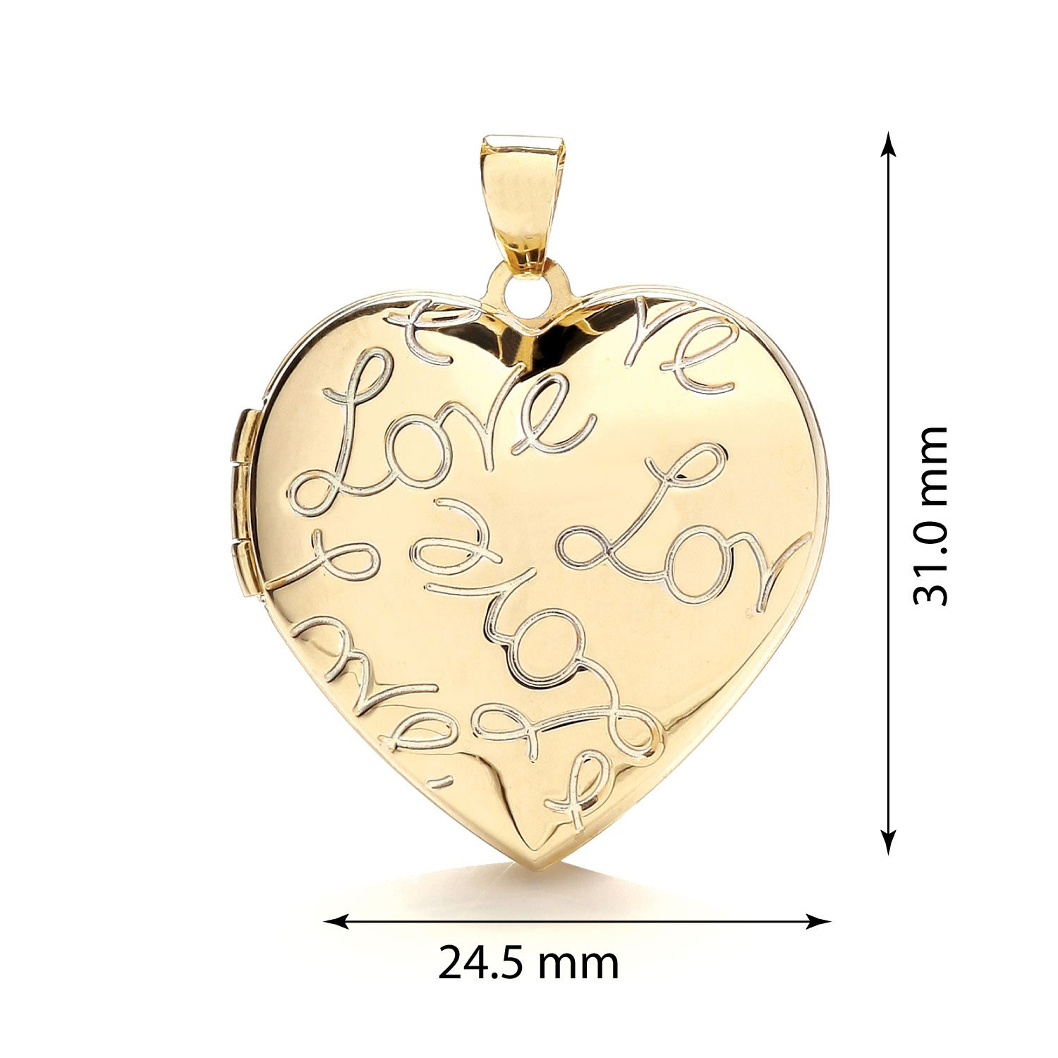 9ct Yellow Gold Heart Shape Locket with Love engraved 24.6 x 30. Gold