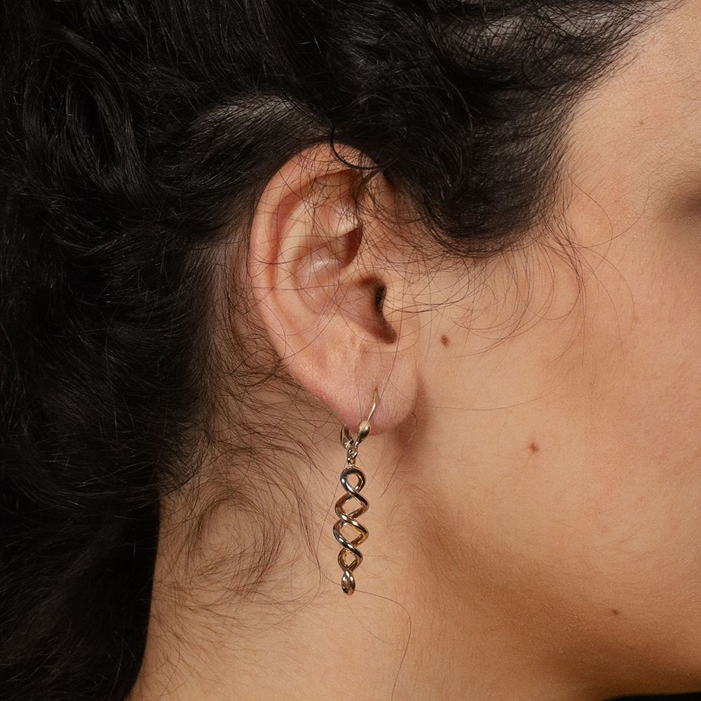 9ct Gold Twisted Drop Earrings Gold