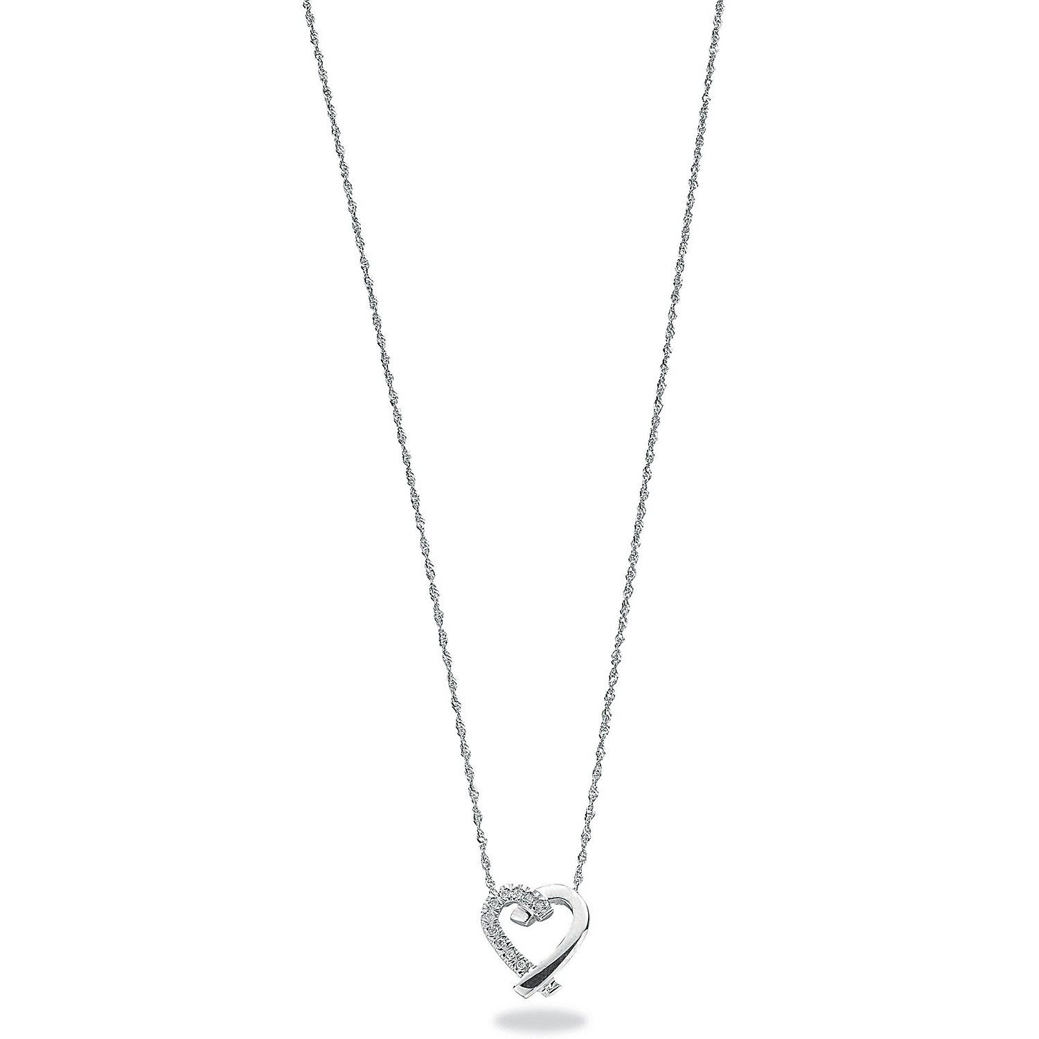 9ct White Gold 0.05ct Diamond Heart Pendant with 18
