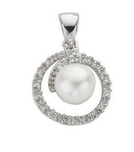 9ct White Gold 0.10ct Diamond & Freshwater Pearl Pendant Pearl Gold