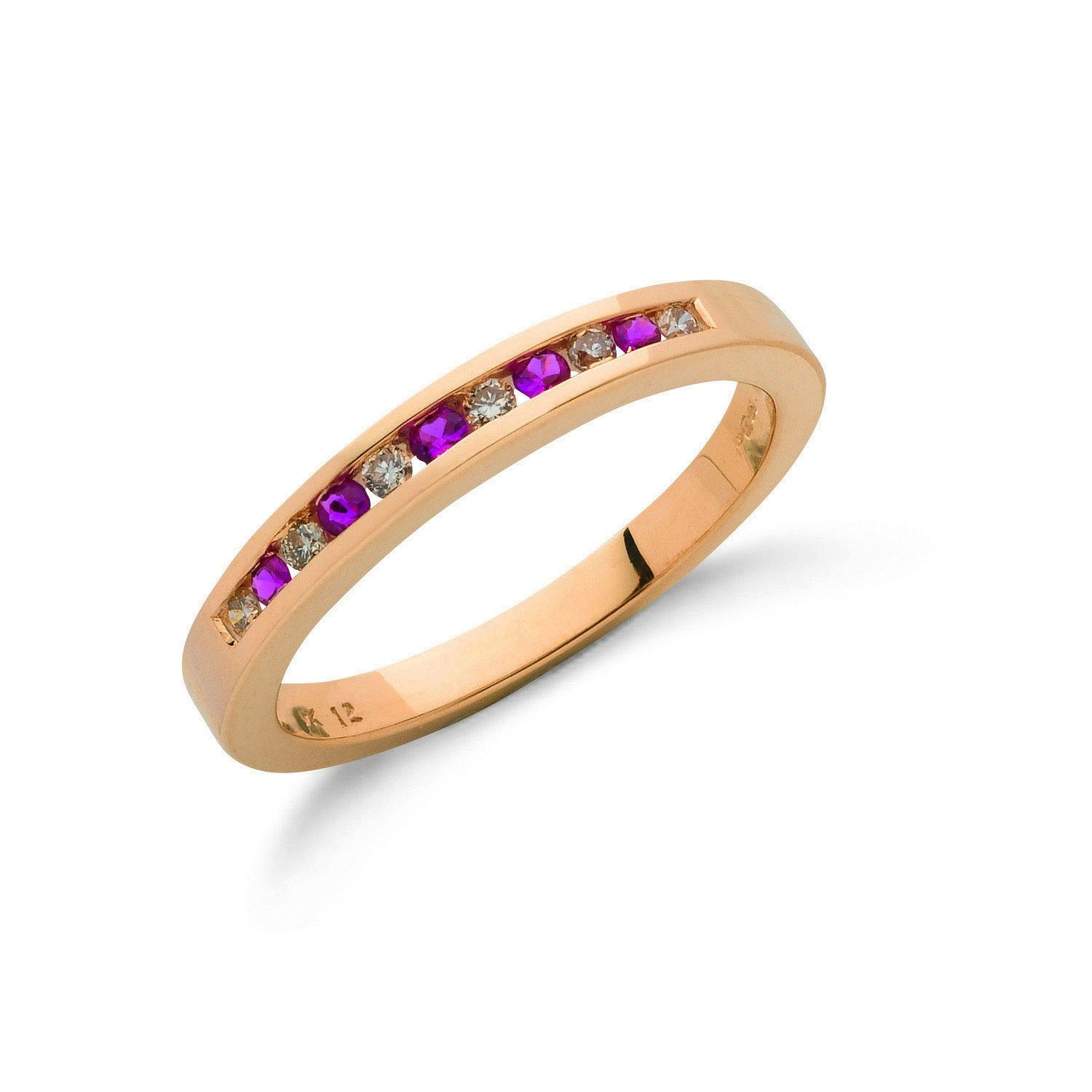 9ct Yellow Gold Diamond and Ruby half Eternity Ring 3mm Ruby Gold