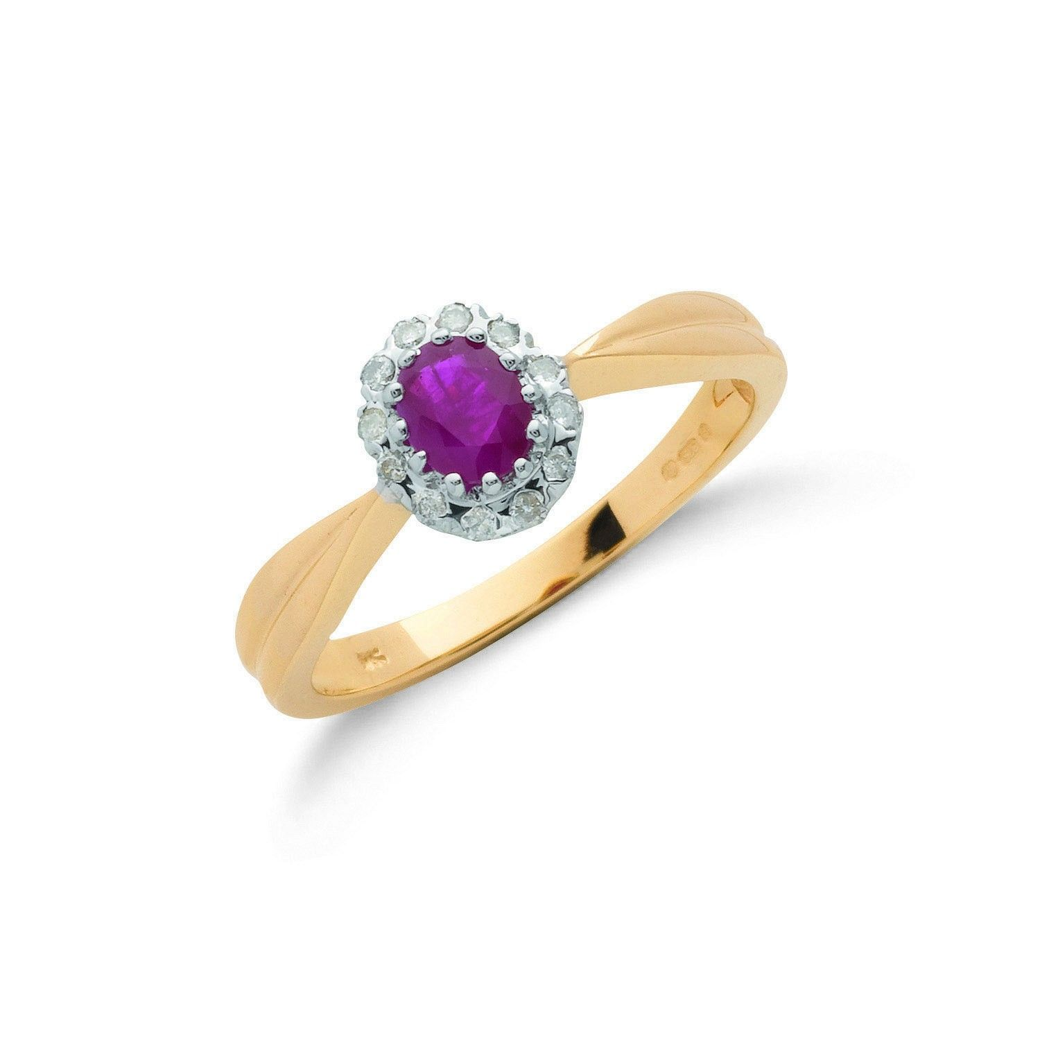 Ruby and diamond Cluster Ring 9ct Yellow Gold Ruby Gold