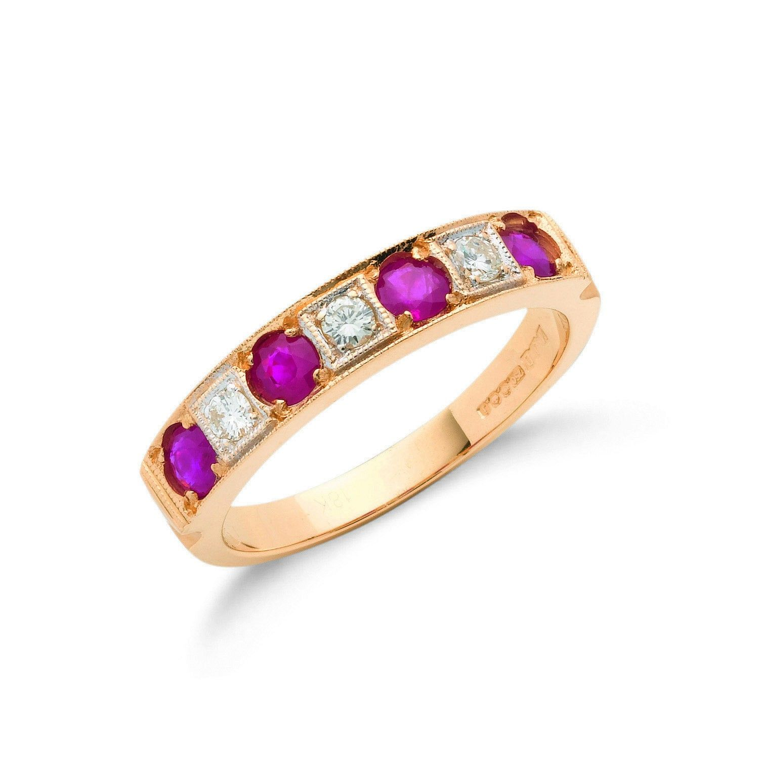 18ct Yellow Gold 0.15cts Diamond & 0.80cts Ruby Eternity Ring Ruby Gold