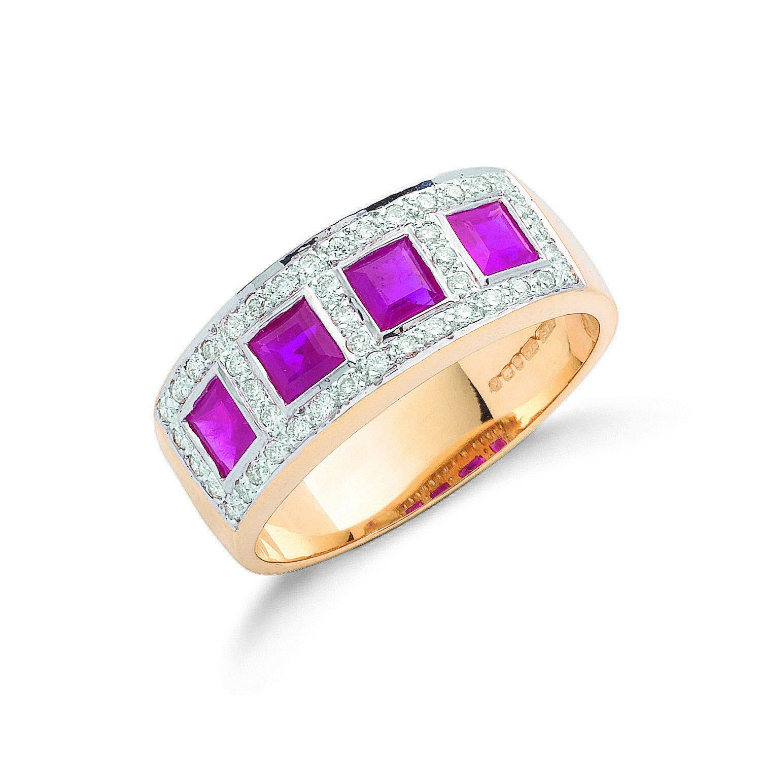 9ct Yellow Gold Diamond and Ruby half Eternity Ring 7.5mm Ruby Gold