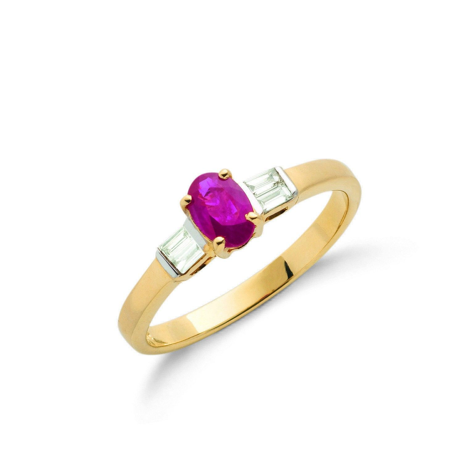 9ct Yellow Gold Baguette Cut 0.11ct Diamond & 0.60ct Ruby Ring Ruby Gold