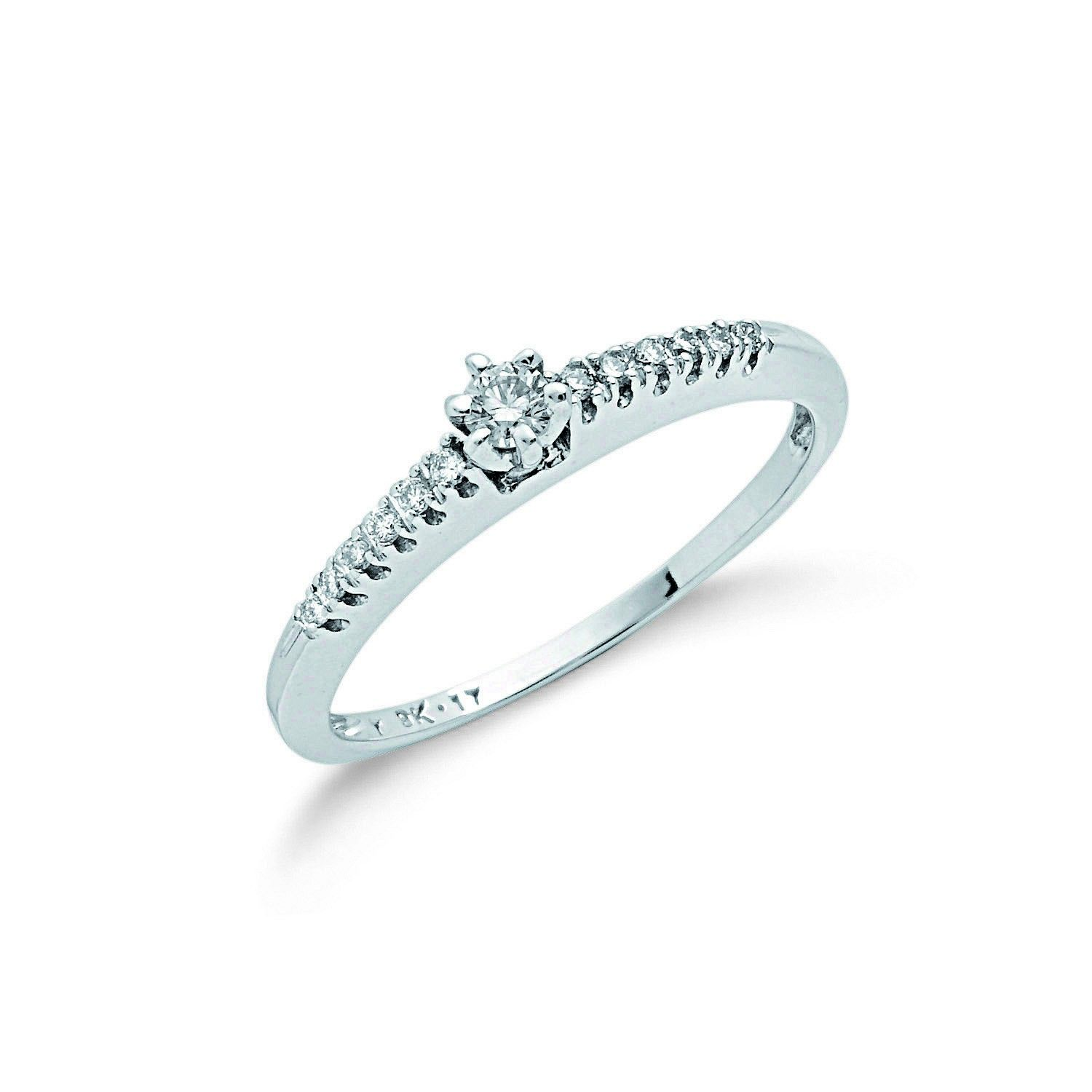 9ct White Gold 0.17cts Diamond Engagement Ring