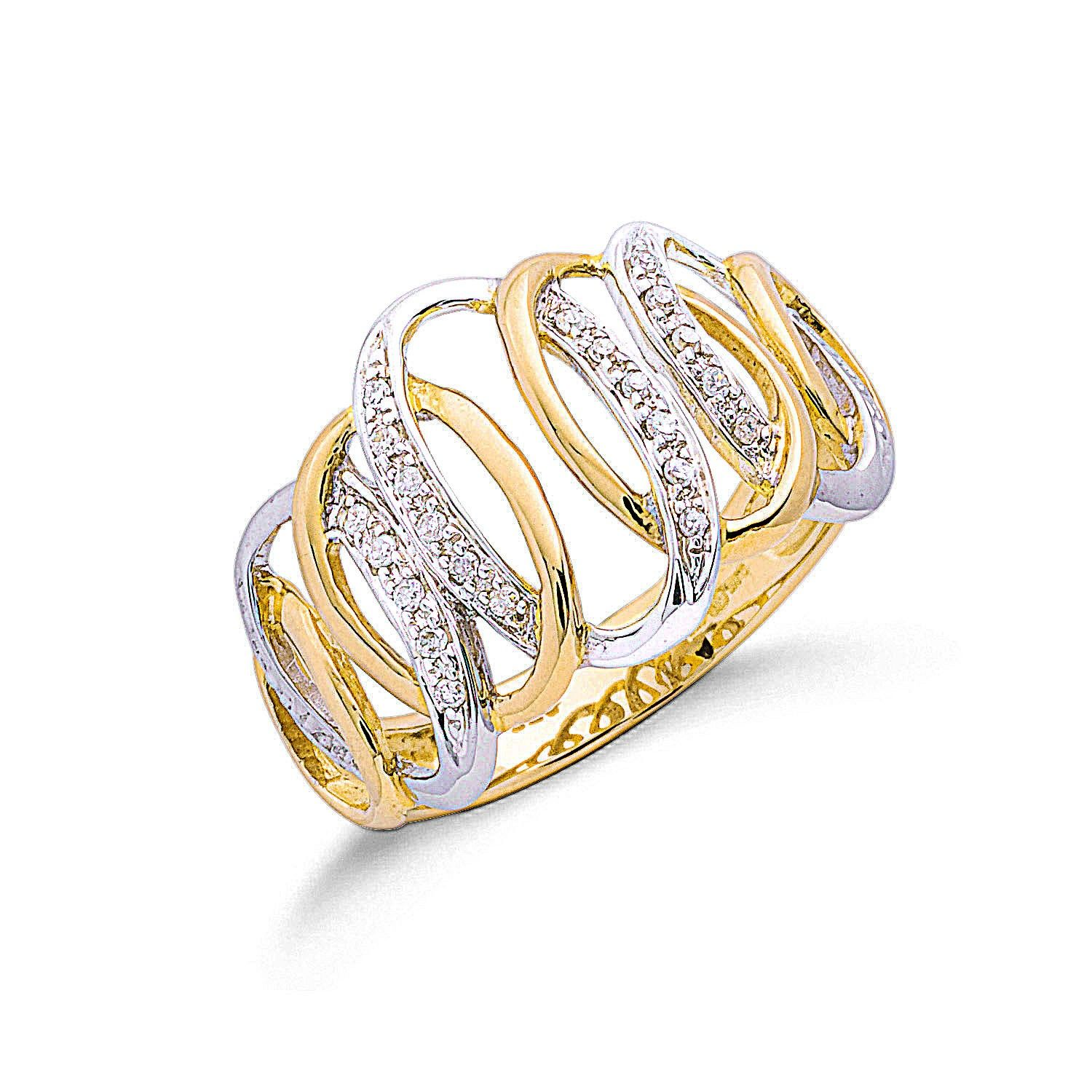 9ct Two Colour Gold 0.10cts Diamond Ring Diamond Gold