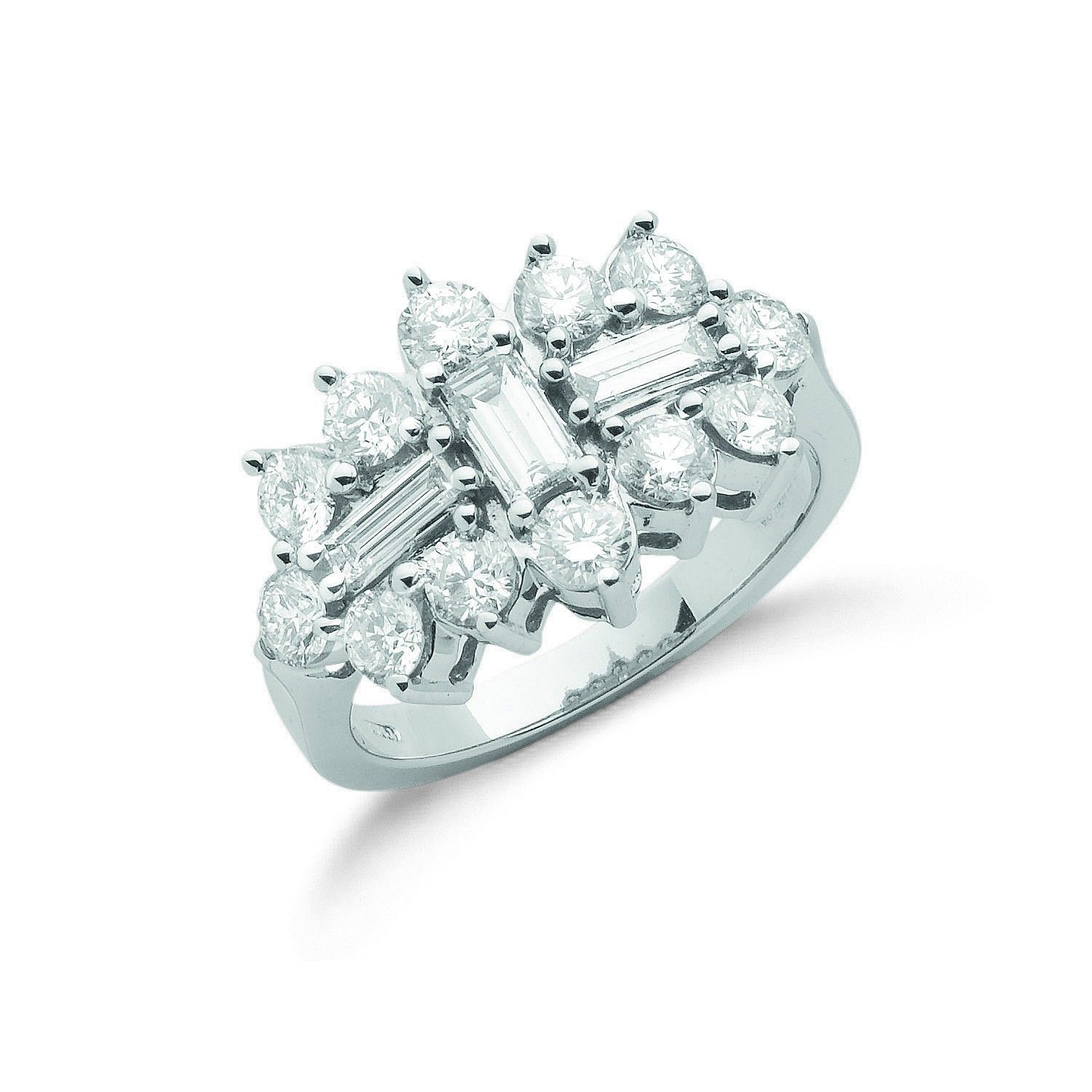 18ct White Gold 2.00cts Diamond Boat/Cluster Ring Diamond Gold